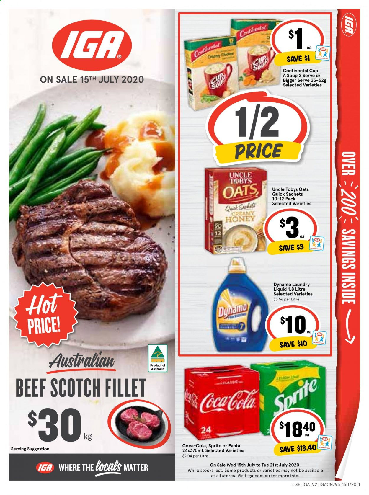 IGA Catalogue - 15.7.2020 - 21.7.2020 - Sales products - beef meat, coca-cola, sprite, honey, oats, soup, fanta, liquid. Page 1.