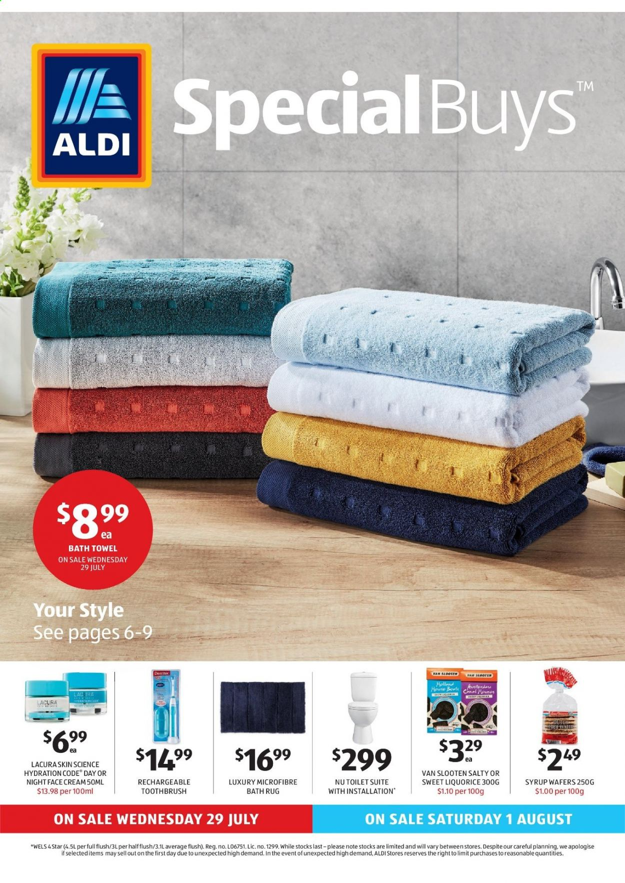 ALDI Catalogue - 29.7.2020 - 4.8.2020 - Sales products - bath, bath towel, rug, toilet, toothbrush, towel, wafers, face cream, syrup. Page 1.