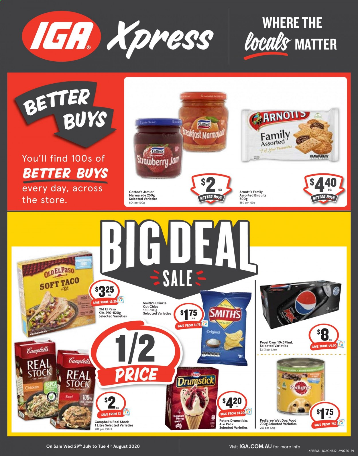 IGA Catalogue - 29.7.2020 - 4.8.2020 - Sales products - animal food, beef meat, biscuits, campbell's, dog food, wet dog food, jam, chicken, pepsi, chips, berry. Page 1.