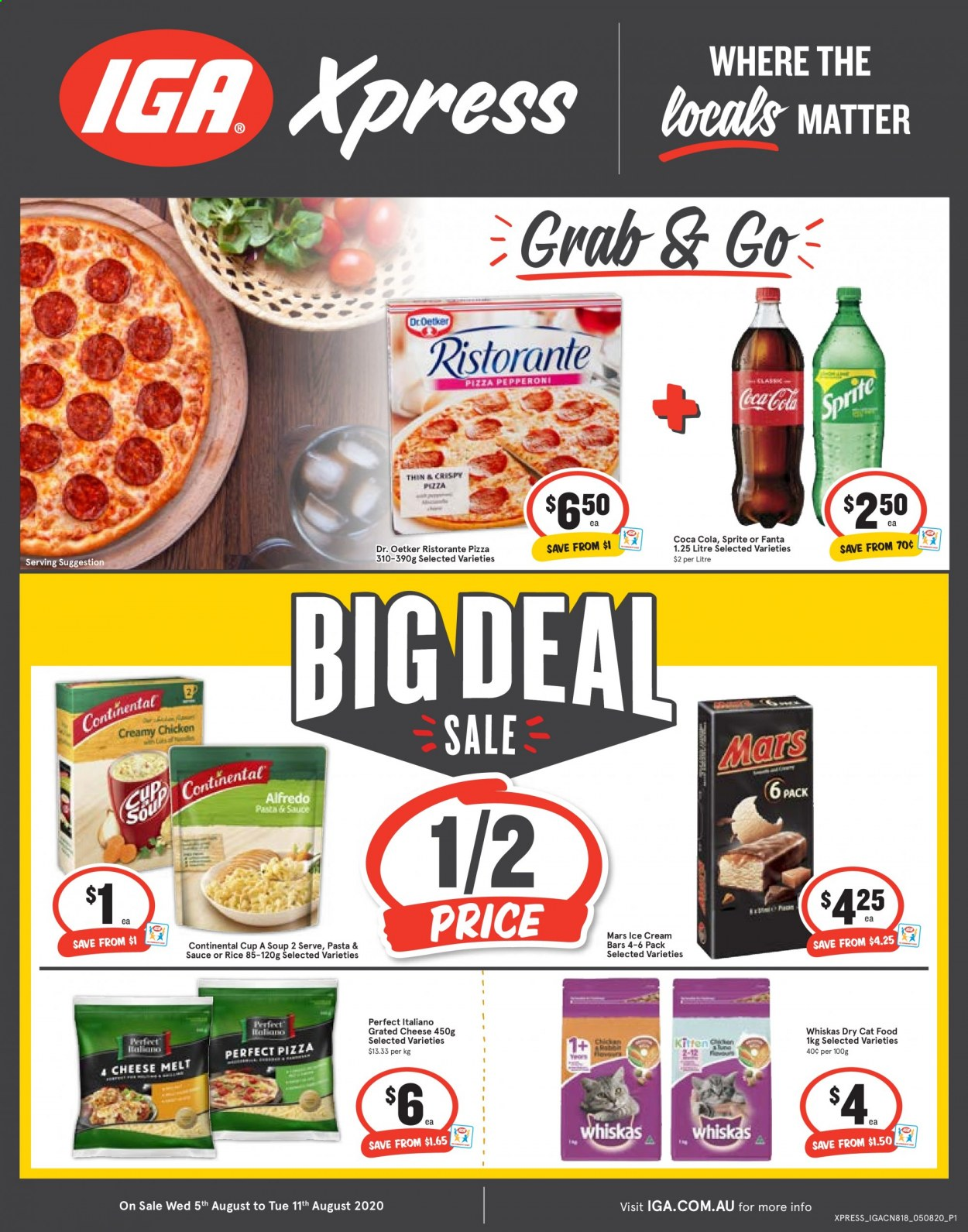IGA Catalogue - 5.8.2020 - 11.8.2020 - Sales products - alfredo sauce, animal food, cat food, coca-cola, rice, sprite, ice cream, ice cream bars, pizza, chicken, pepperoni, cheese, soup, whiskas, fanta, pasta, sauce, mars. Page 1.