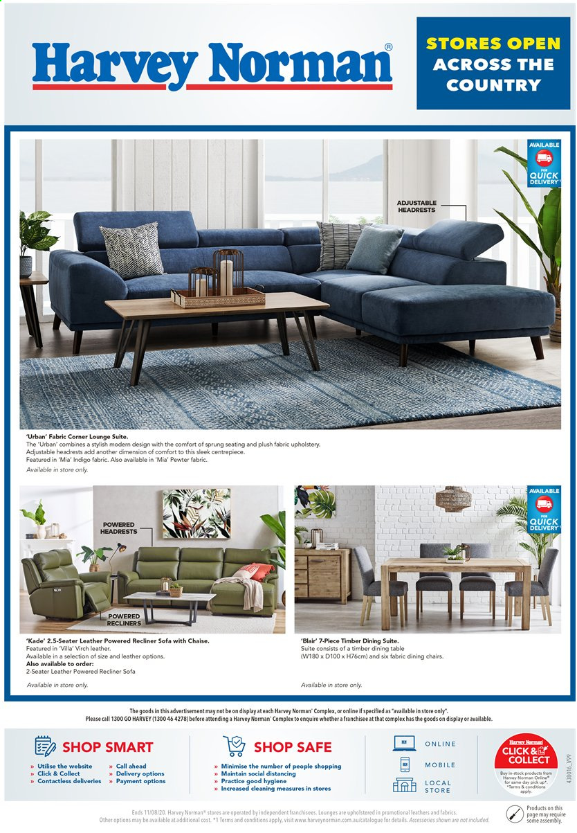 Harvey Norman Catalogue - 5.8.2020 - 11.8.2020 - Sales products - dining table, sofa, table, chair, chaise. Page 1.