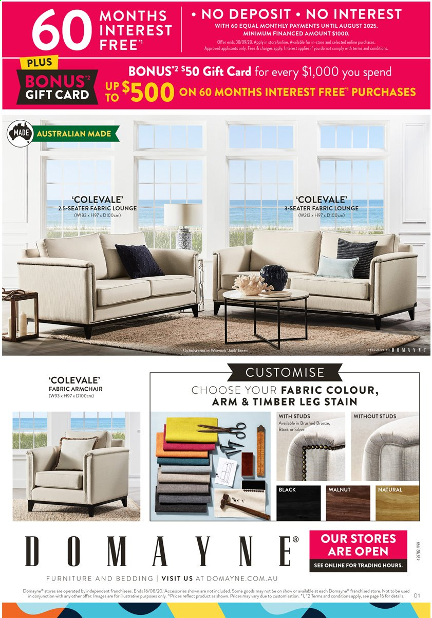 Domayne Catalogue - 13.8.2020 - 16.8.2020 - Sales products - arm chair, Furniture, studs. Page 1.