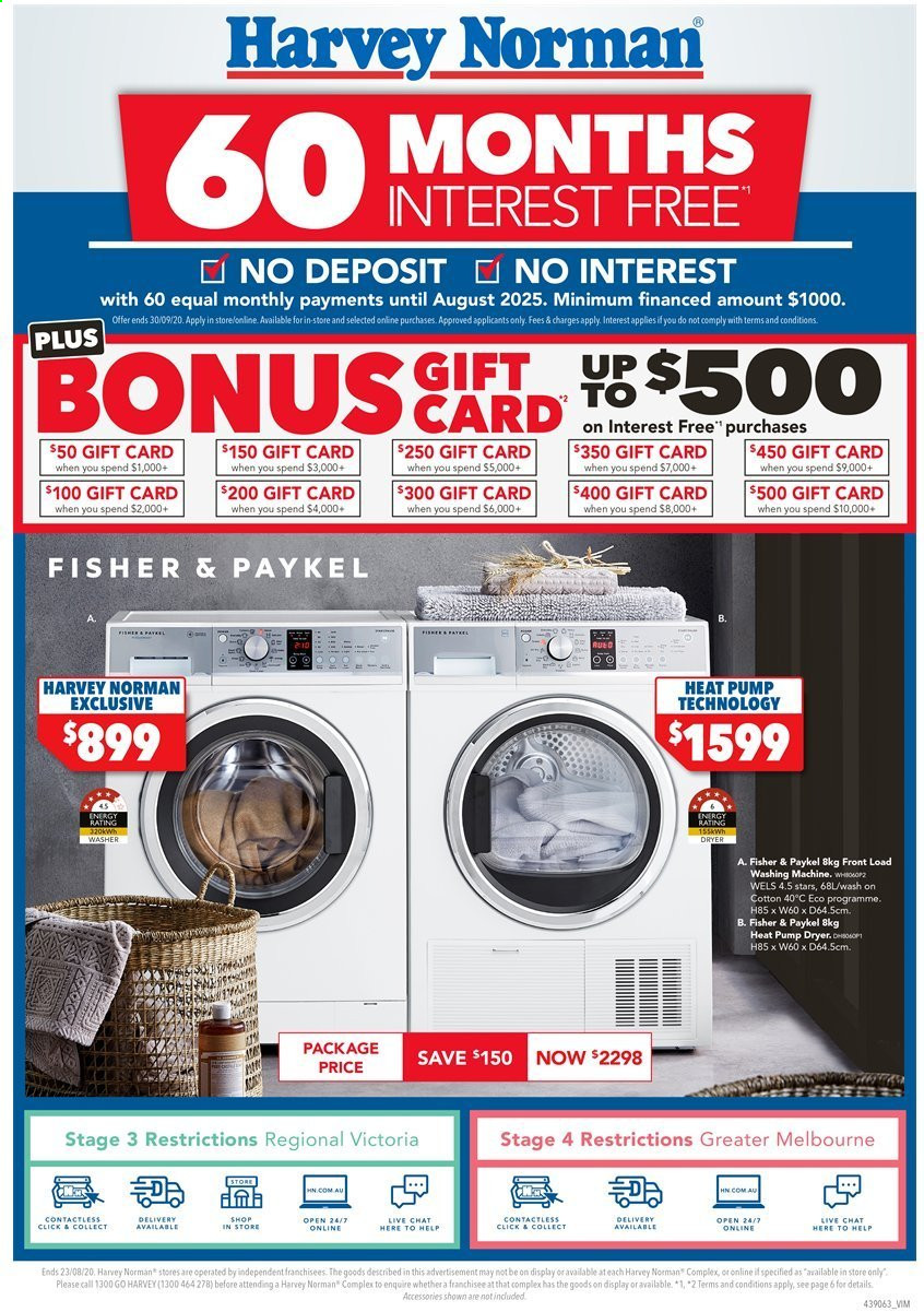 Harvey Norman Catalogue - 17.8.2020 - 23.8.2020 - Sales products - washing machine, pump. Page 1.