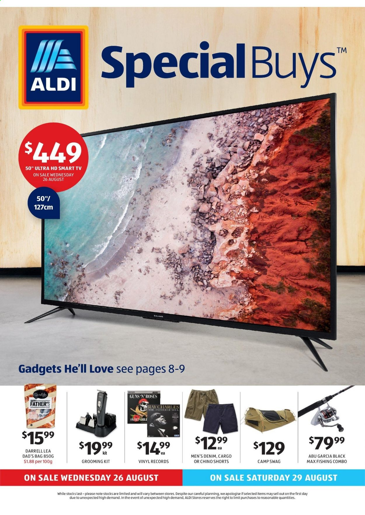 ALDI Catalogue - 26.8.2020 - 1.9.2020 - Sales products - shorts, smart tv, uhd tv, ultra hd, jeans, roses, fishing, vinyl. Page 1.