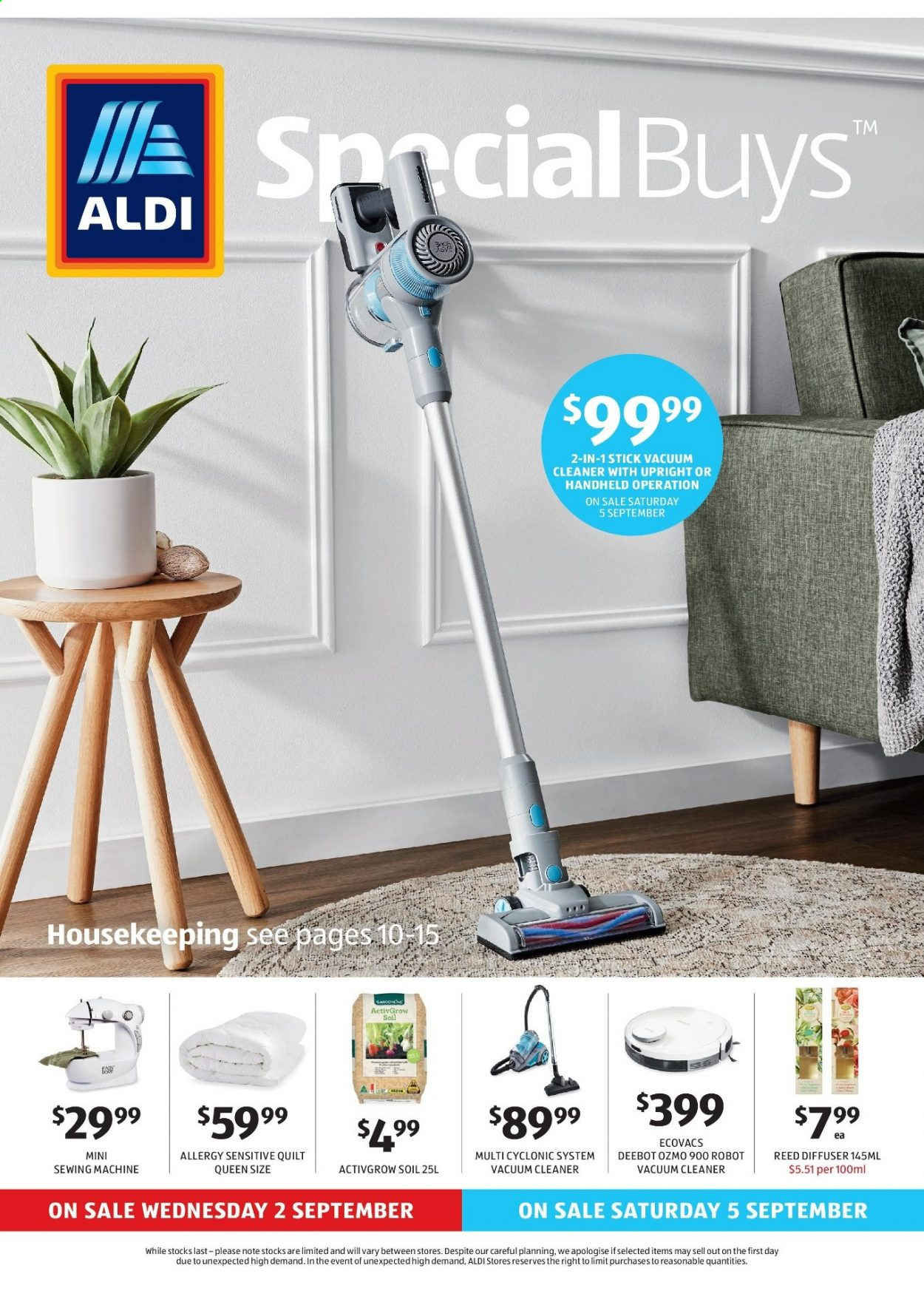 ALDI Catalogue - 2.9.2020 - 8.9.2020 - Sales products - diffuser, robot, vacuum, vacuum cleaner, quilt, sewing machine, cleaner, sewing, machine, ecovacs. Page 1.