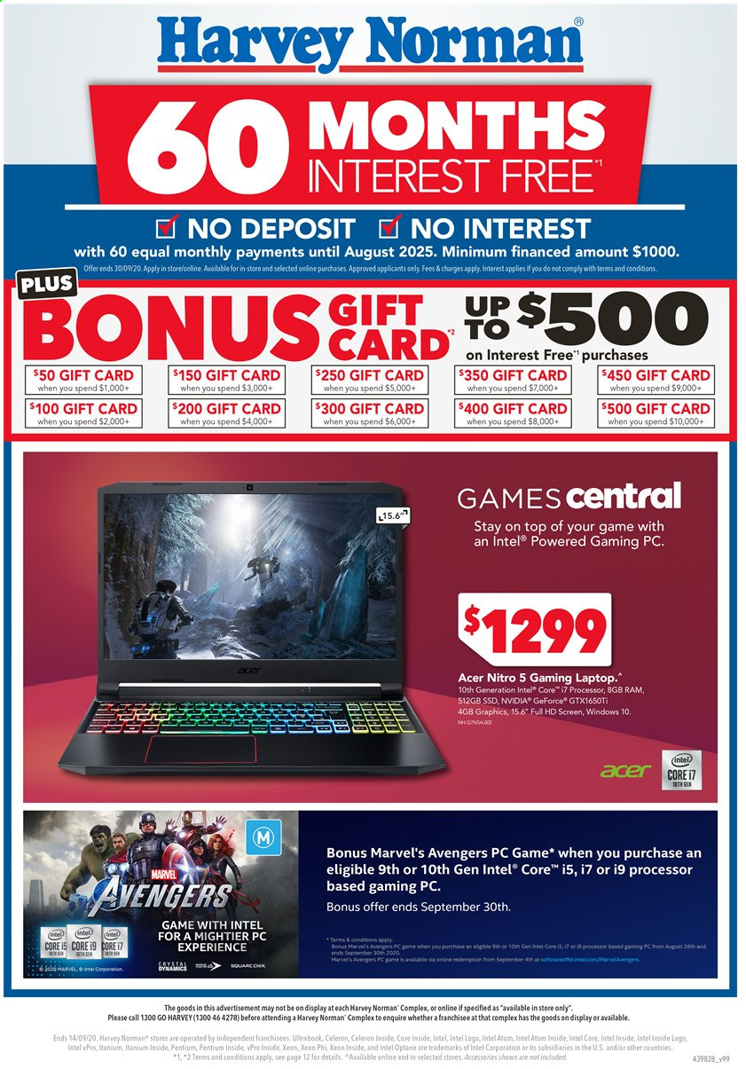 Harvey Norman Catalogue - 28.8.2020 - 14.9.2020 - Sales products - Acer, full hd, GeForce, laptop, windows, Intel, Marvel, ssd, Game, Avengers. Page 1.
