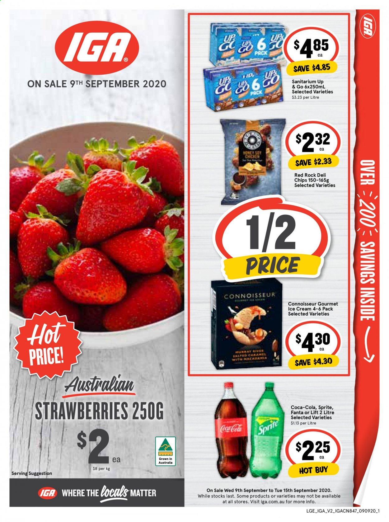 IGA Catalogue - 9.9.2020 - 15.9.2020 - Sales products - coca-cola, sprite, strawberries, ice cream, chips, fanta. Page 1.