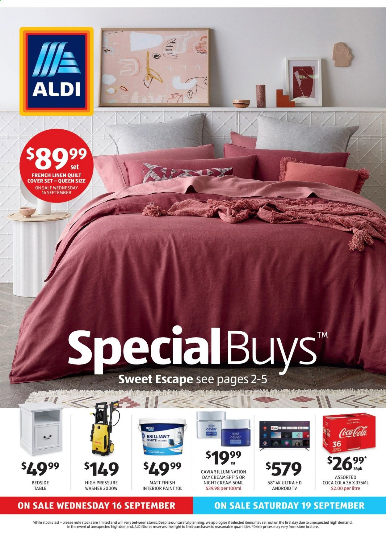ALDI Catalogue - 16.9.2020 - 22.9.2020 - Sales products - android, android tv, caviar, day cream, table, uhd tv, ultra hd, washer, quilt, night cream, drink, paint. Page 1.