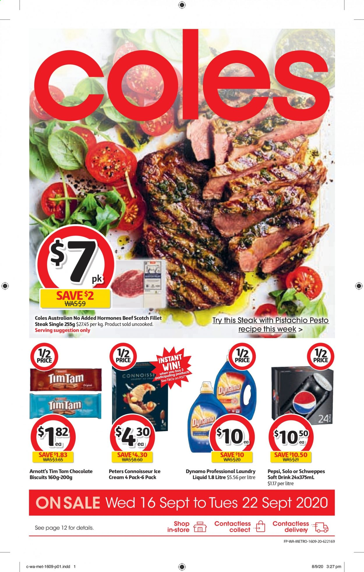 Coles Catalogue - 16.9.2020 - 22.9.2020 - Sales products - beef meat, biscuits, cream, schweppes, pesto, pepsi, chocolate, steak, drink, liquid, soft drink, metro. Page 1.