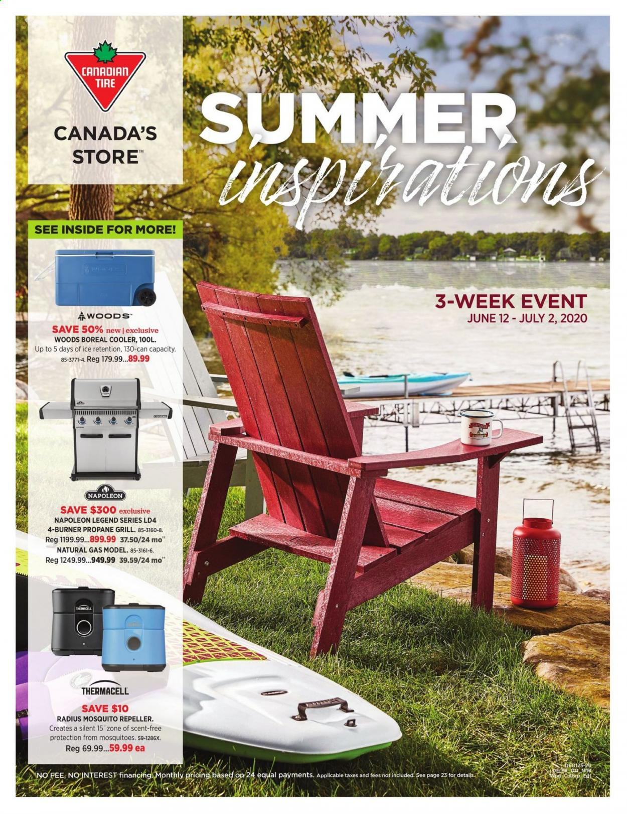 Canadian Tire Flyer - June 12, 2020 - July 02, 2020 - Sales products - grill, cooler, gril. Page 1.