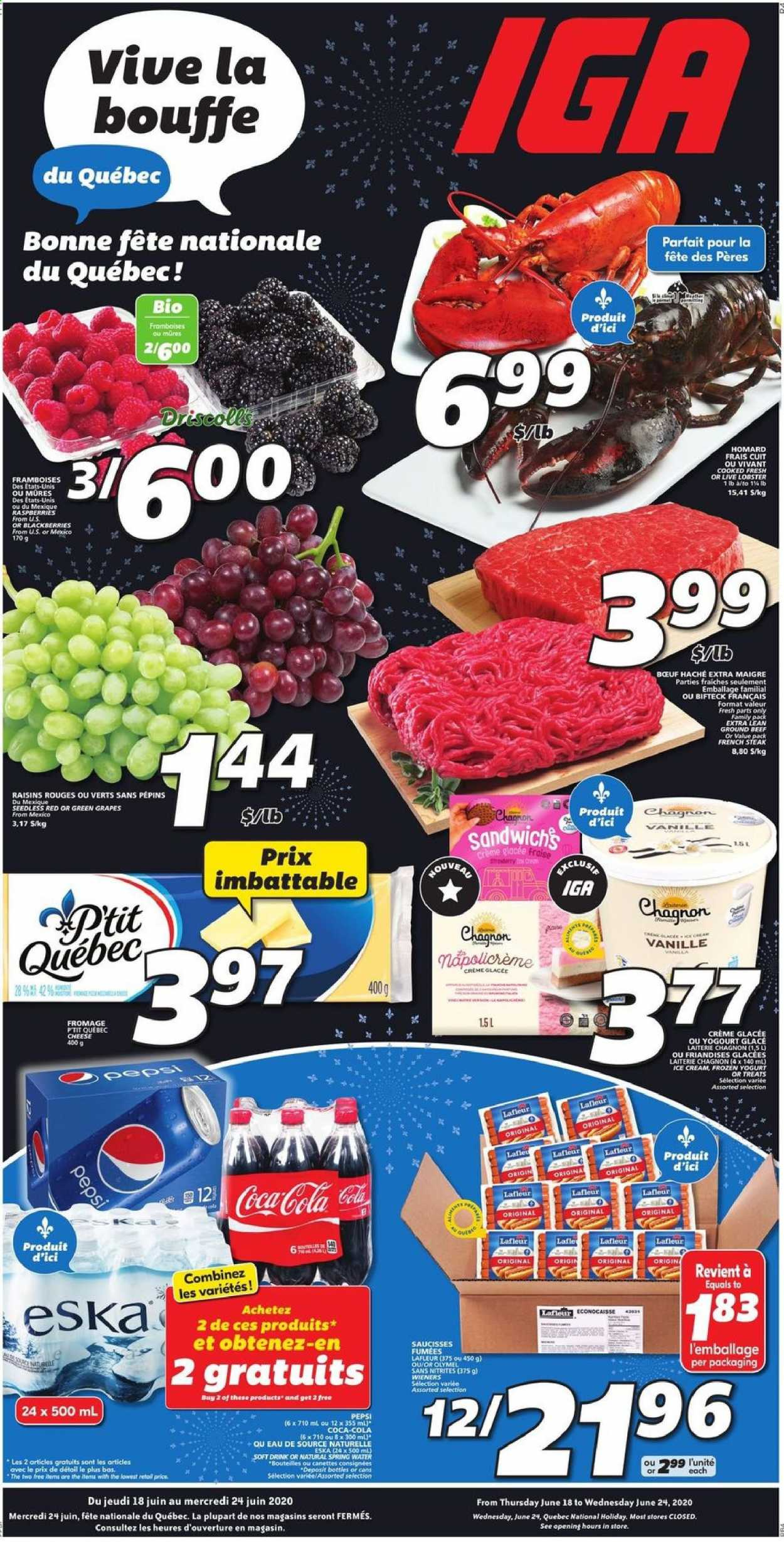 IGA Flyer  - June 18, 2020 - June 24, 2020. Page 1.