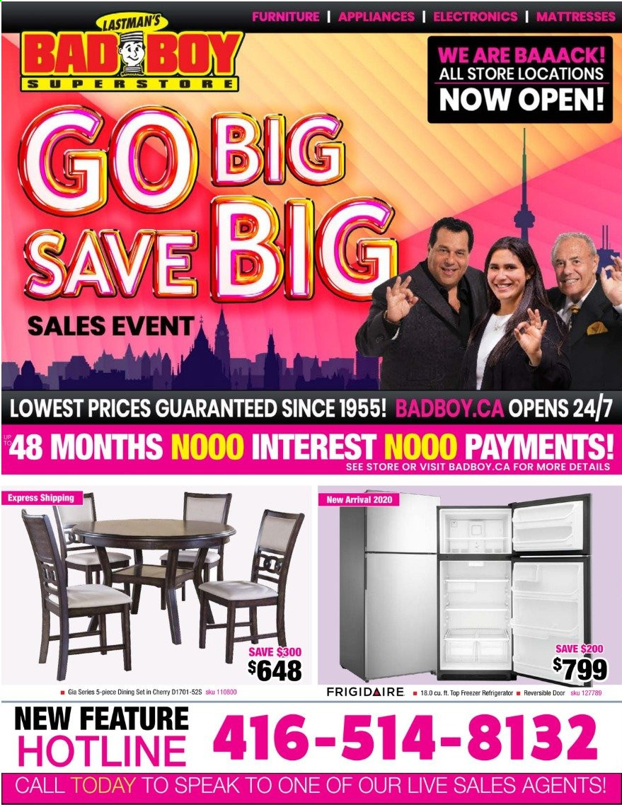 Bad Boy Superstore Flyer - Sales products - dining set, door, freezer, furniture, mattress, refrigerator. Page 1.