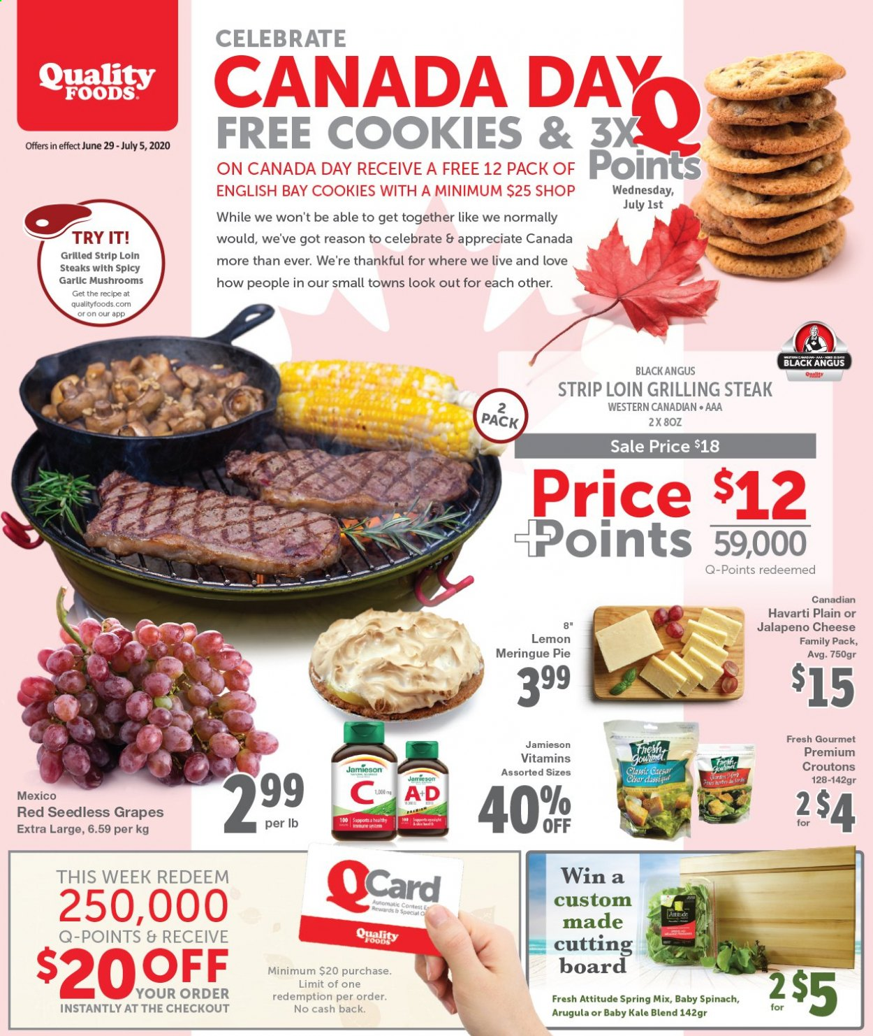 Quality Foods Flyer  - June 29, 2020 - July 05, 2020. Page 1.