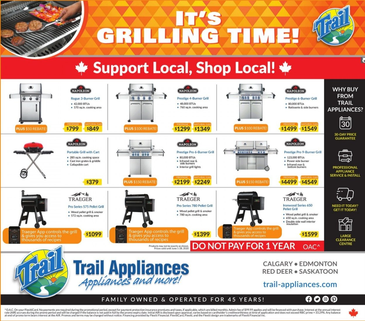Trail Appliances Flyer - June 04, 2020 - July 04, 2020 - Sales products - bottom, cart, deer, grill, smoker, iron, pellet grill, pellet, gril. Page 1.