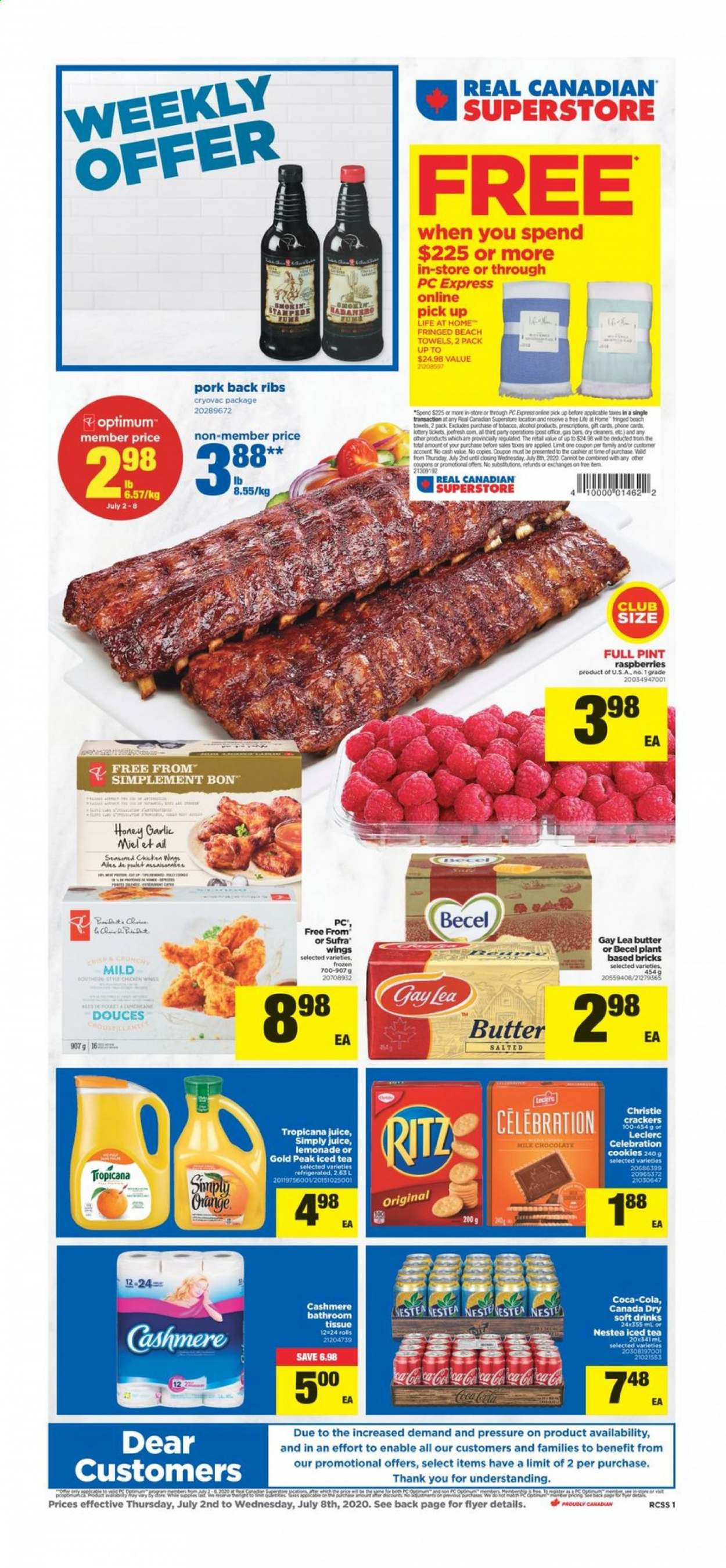 Real Canadian Superstore Flyer - July 02, 2020 - July 08, 2020 - Sales products - butter, Canada Dry, cookies, garlic, lemonade, milk chocolate, raspberries, tea, honey, pork meat, chocolate, juice, ribs, orange. Page 1.