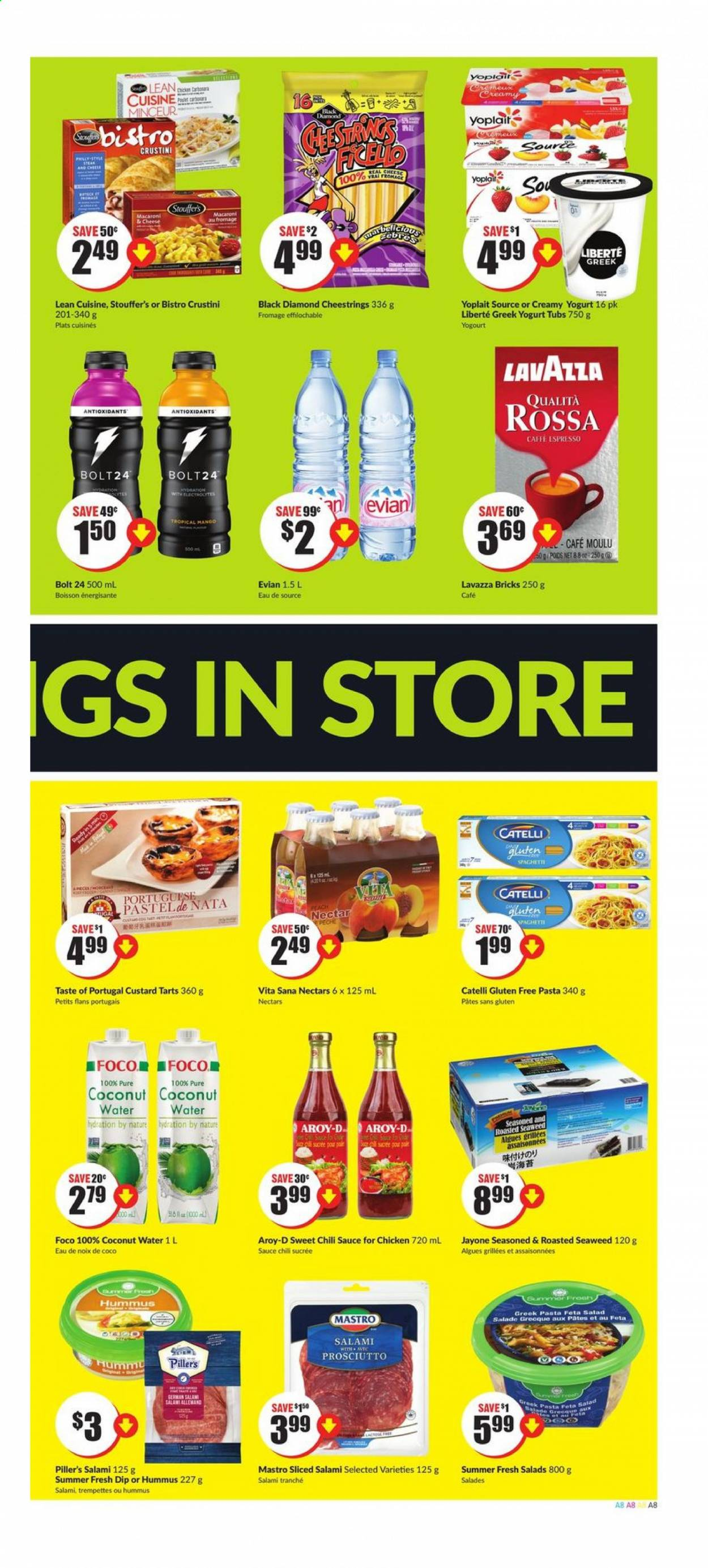 FreshCo. Flyer - July 09, 2020 - July 15, 2020 - Sales products - custard, fêta, greek yogurt, macaroni & cheese, salami, spaghetti, yogurt, hummus, prosciutto, chicken, chili sauce, seaweed, cheese, coconut, macaroni, pasta, salad, sauce, café, salade, algues, boisson, café moulu, eau, fromage, noix, noix de coco, pêche, lavazza, pâtes, nectar, gluten free. Page 8.