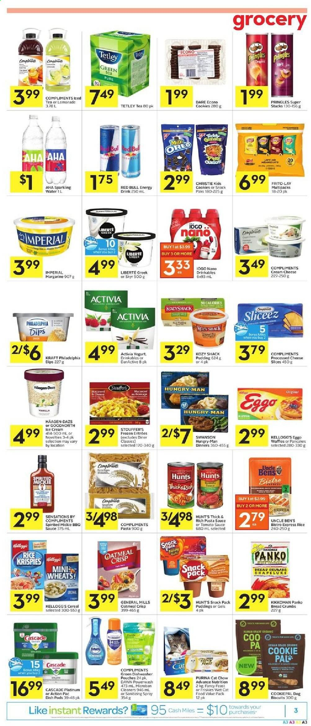 Foodland Flyer - July 09, 2020 - July 15, 2020 - Sales products - animal food, barbecue sauce, biscuits, bread, bread crumbs, cascade, cat food, cereals, cookies, cream cheese, dishwasher, green tea, lemonade, margarine, rice, tea, tomato sauce, yogurt, ice cream, philadelphia, pringles, pudding, purina, cheese slices, pancakes, pasta sauce, oatmeal, oreo, organic, chow, kikkoman, cheese, macaroni, dog biscuits, snack, sparkling water, cereal, pasta, energy drink, sauce, activia, biscuit, friskies, kellogg's. Page 3.