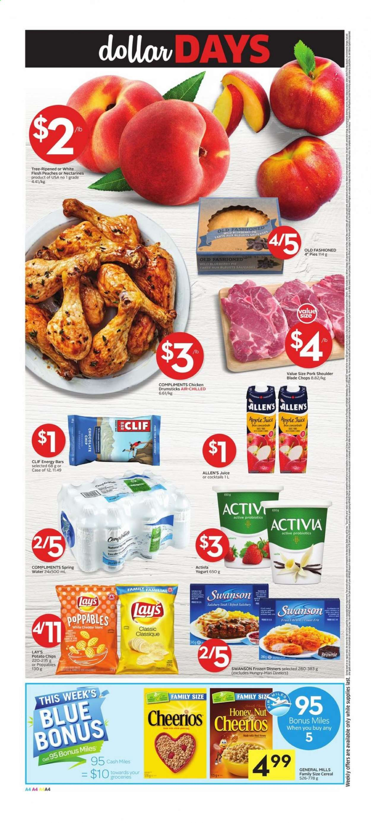 Foodland Flyer - July 16, 2020 - July 22, 2020 - Sales products - apple juice, cereals, fa, nectarines, spring water, tree, yogurt, honey, pork meat, pork shoulder, potato chips, probiotics, cheddar, cheerios, chicken, chicken drumsticks, peaches, chips, chocolate, juice, pie, cereal, lay's, tarte. Page 4.