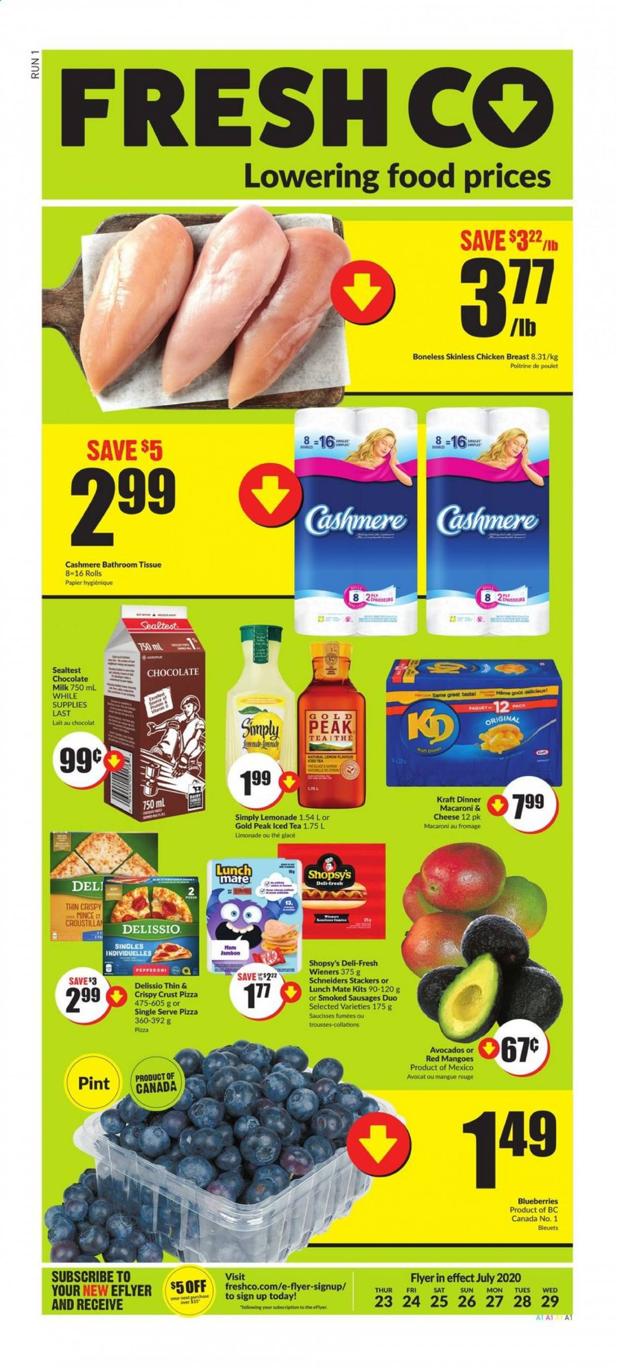 FreshCo. Flyer - July 23, 2020 - July 29, 2020 - Sales products - avocado, blueberries, lemonade, macaroni & cheese, mango, mate, milk, sausages, tea, ham, pizza, chicken, chicken breast, chocolate milk, chocolate, cheese, macaroni, iced tea, poulet, chocolat, lait, avocat, jambon, fromage, glace, thé, mangue, papier, saucisse, rouge. Page 1.