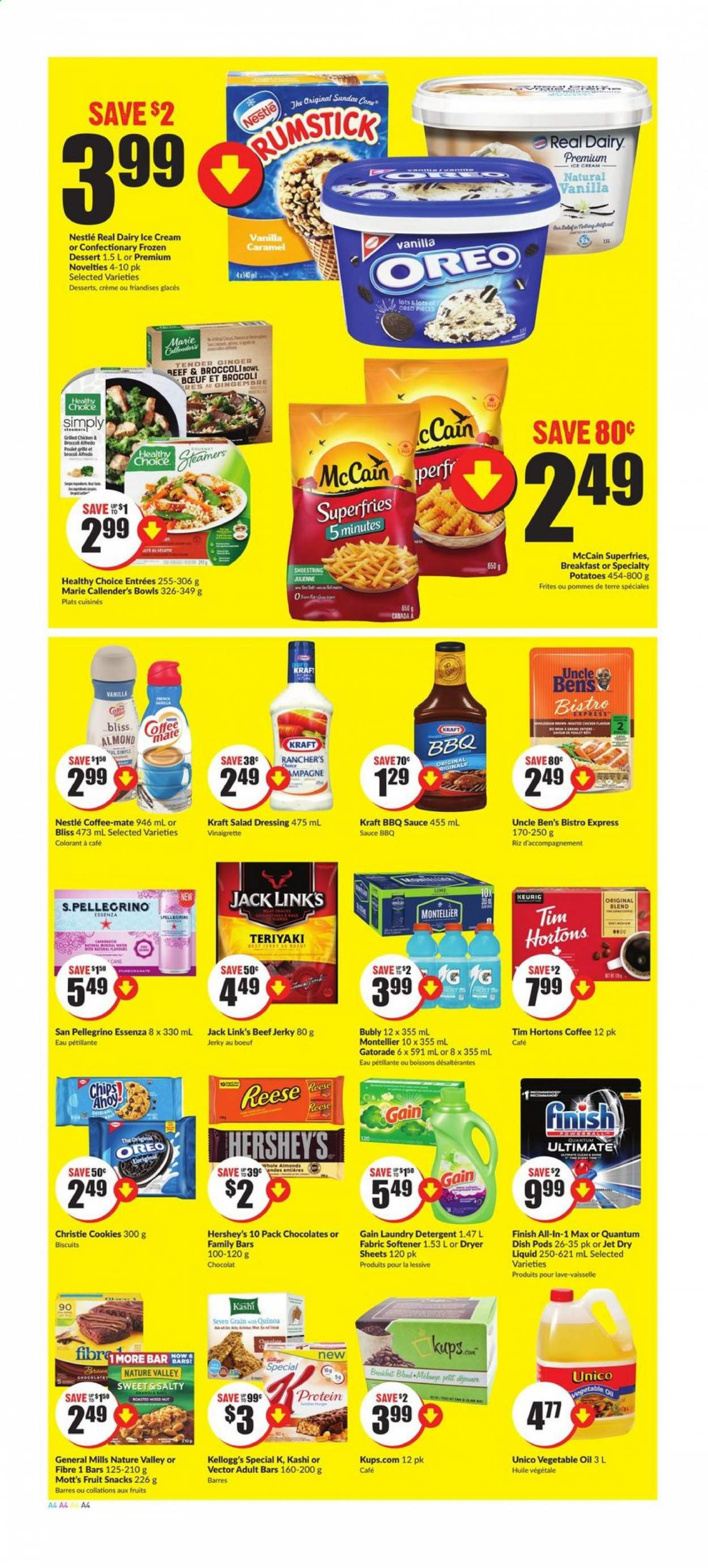 FreshCo. Flyer - July 23, 2020 - July 29, 2020 - Sales products - barbecue sauce, beef jerky, beef meat, biscuits, bowl, broccoli, caramel, coffee-mate, cookies, crème, detergent, door, dryer, gain, ginger, mate, mccain, nestlé, quinoa, salad dressing, teriyaki, vegetable oil, vinaigrette dressing, ice cream, jerky, potatoes, protein, chicken, oreo, chips, dessert, dressing, vegetable, softener, bow, reese, salad, sauce, chocolat, café, biscuit, bœuf, brocoli, cône, eau, finish, huile, vinaigrette, kellogg's, san pellegrino, pommes de terre, lessive, riz, snacks, fruits. Page 4.