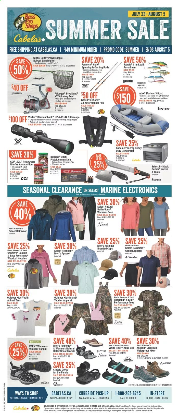 Bass Pro Shops Flyer - July 23, 2020 - August 05, 2020 - Sales products - Bass Pro, boat, dehydrator, columbia, Gerber, knife, riflescope, sandals, Sharp, tee, tray, VORTEX, handles, HP, pistol, reel, spinning reel. Page 1.