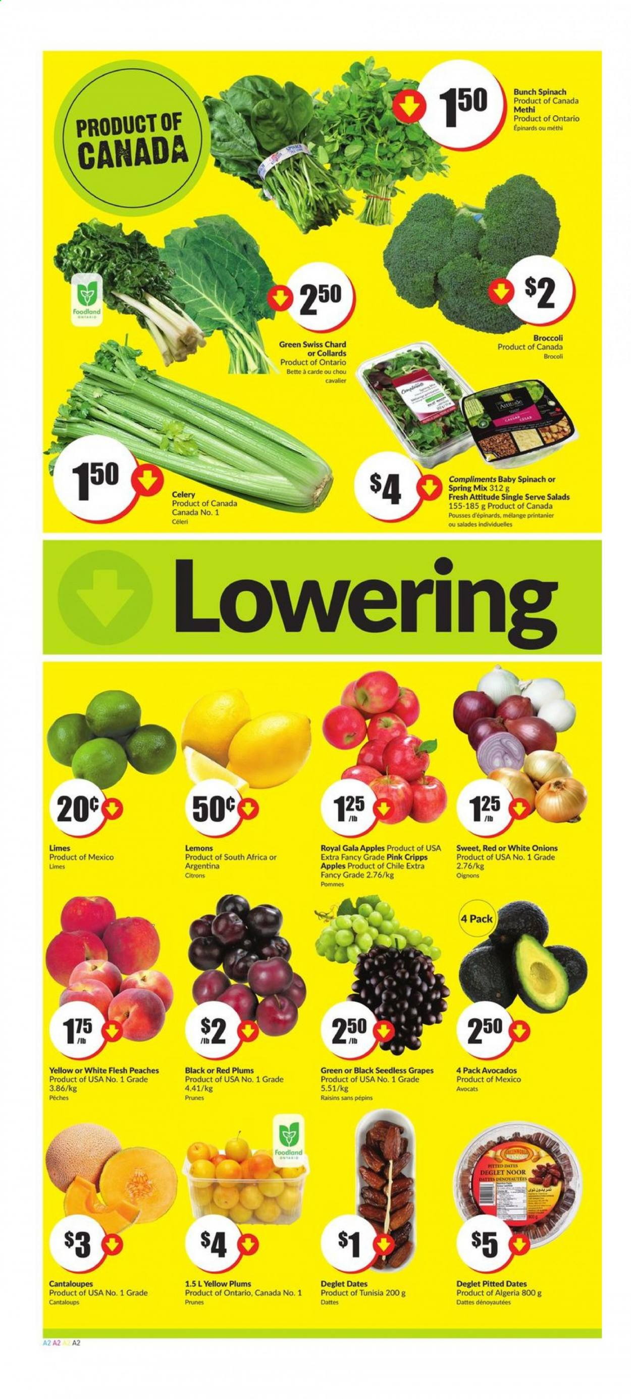 FreshCo. Flyer - July 30, 2020 - August 05, 2020 - Sales products - avocado, broccoli, cantaloupe, celery, dates, gala apples, grapes, lemons, limes, raisins, seedless grapes, spinach, plums, prunes, chard, peaches, onion, red plums, pommes, brocoli, cavalier, céleri, datte, epinard, chou, prune, oignons, pêche. Page 2.