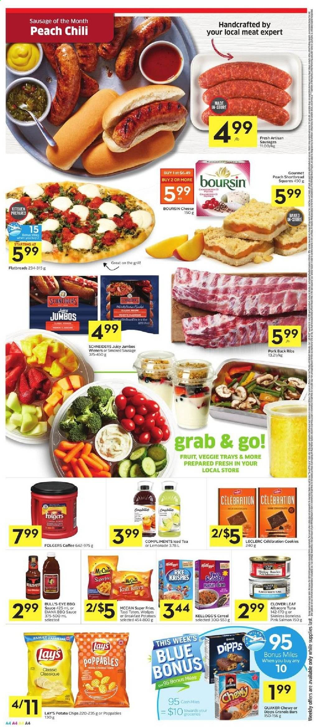 Foodland Flyer - July 30, 2020 - August 05, 2020 - Sales products - barbecue sauce, bran, cereals, coffee, cookies, granola, granola bars, grill, lemonade, mccain, rice, salmon, sausage, sausages, smoked sausage, tea, tuna, veggie, pork meat, potato chips, potatoes, cheddar, chips, cheese, pepper, iced tea, cereal, lay's, sauce, ribs, ail, boursin, gril, kellogg's, fruits. Page 4.