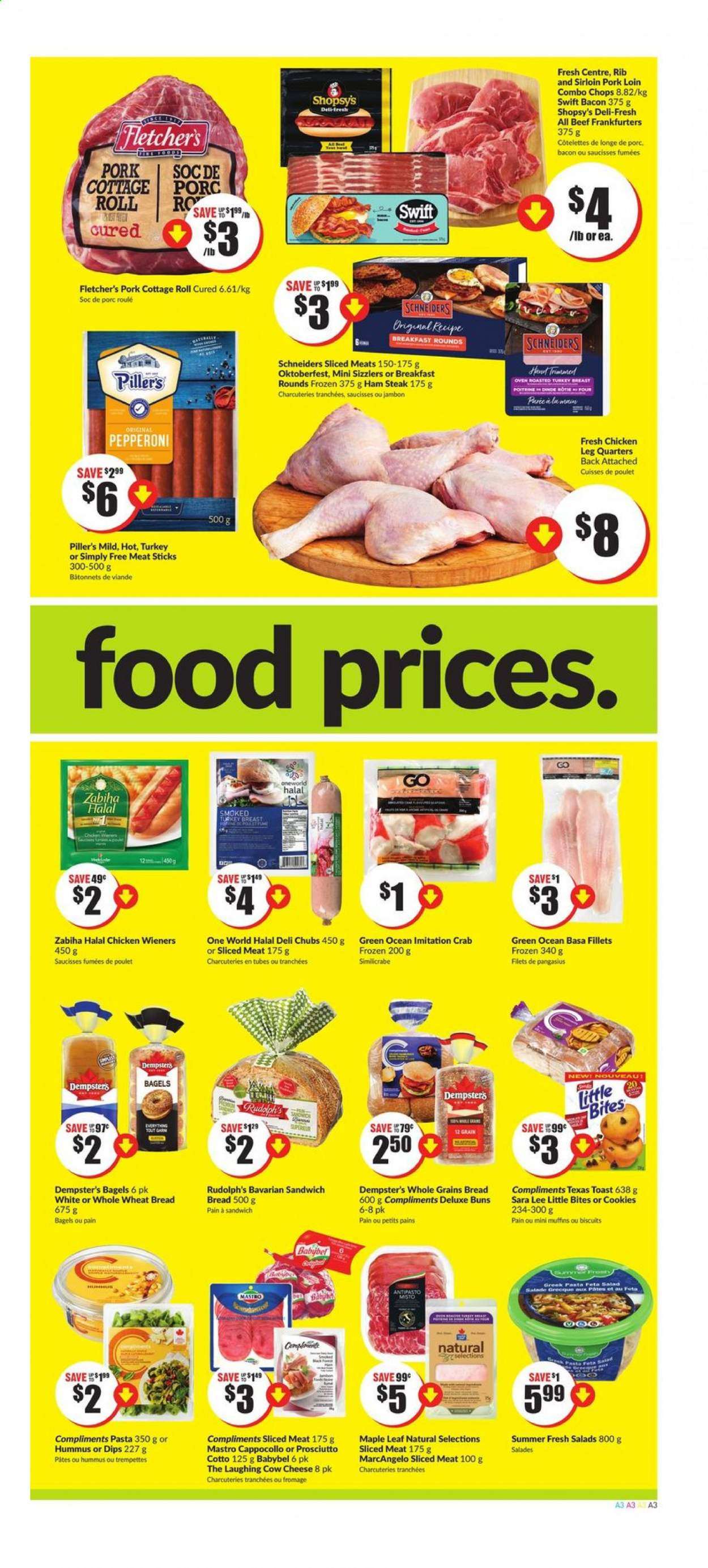 FreshCo. Flyer - August 06, 2020 - August 12, 2020 - Sales products - bacon, bagels, beef meat, biscuits, bread, cookies, fêta, muffins, turkey, turkey breast, wheat bread, ham, ham steaks, hummus, pork loin, pork meat, prosciutto, chicken, pan, pangasius, pepperoni, oven, steak, cheese, sandwich, pasta, lee, salad, poulet, viande, porc, jambon, salade, babybel, biscuit, four, fromage, saucisse, pâtes. Page 3.