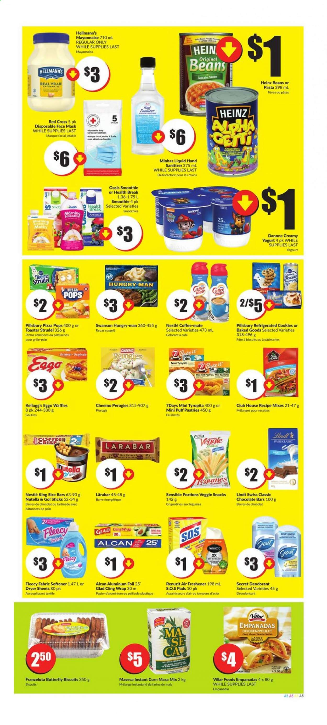 FreshCo. Flyer - August 06, 2020 - August 12, 2020 - Sales products - beans, biscuits, coffee-mate, cookies, corn, déodorant, dryer, mask, mate, mayonnaise, milk, nestlé, renuzit, secret, sugar, tomato sauce, veggie, wrap, yogurt, heinz, pizza, chicken, nutella, pads, chocolate, air freshener, softener, pasta, danone, toaster, lindt, sauce, poulet, chocolat, lait, café, biscuit, desodorisant, farine, fève, grille, kellogg's, masque, papier, pâtes, snacks, face mask, hand sanitizer, masque facial. Page 5.
