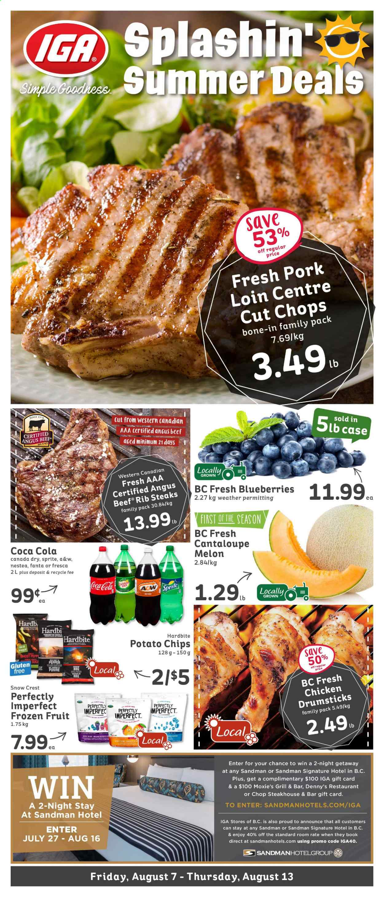 IGA Flyer - August 07, 2020 - August 13, 2020 - Sales products - beef meat, blueberries, canada dry, cantaloupe, crest, ginger, grill, sprite, pork loin, pork meat, potato chips, chicken, chips, pepper, melon, gift card, fanta, salt, pen, avocat, gril, sel, piment, fruits, family pack, aaa. Page 1.