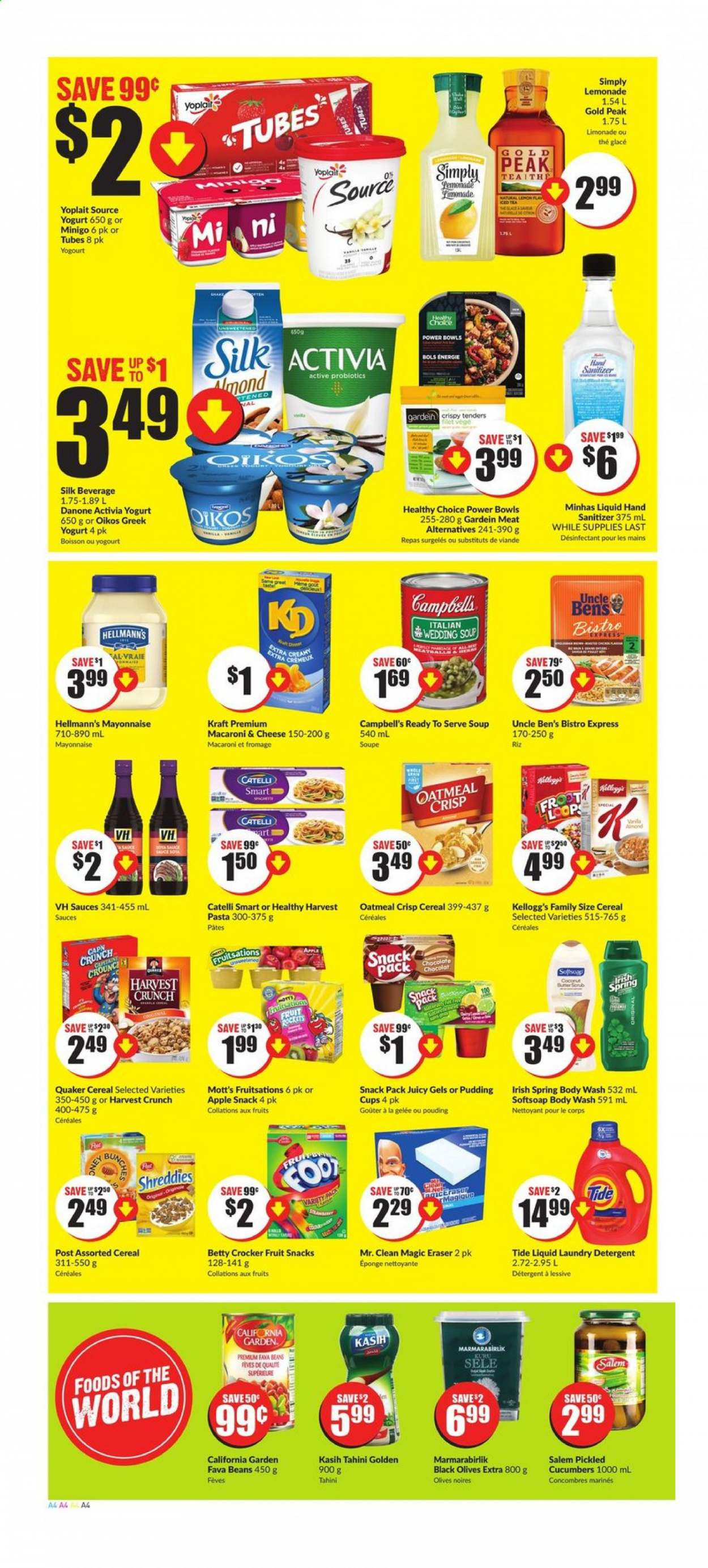 FreshCo. Flyer - August 13, 2020 - August 19, 2020 - Sales products - apples, beans, body wash, bowl, campbell's, cereals, cucumbers, detergent, fava beans, greek yogurt, lemonade, macaroni & cheese, mayonnaise, softsoap, tahini, tea, tide, yogurt, probiotics, pudding, oatmeal, olives, cheese, coconut, macaroni, soup, snack, iced tea, cereal, pasta, danone, eraser, chocolat, viande, activia, boisson, éponge, fève, fromage, glace, soupe, kellogg's, nettoyeur, lessive, riz, pâtes, snacks, fruits, hand sanitizer. Page 4.