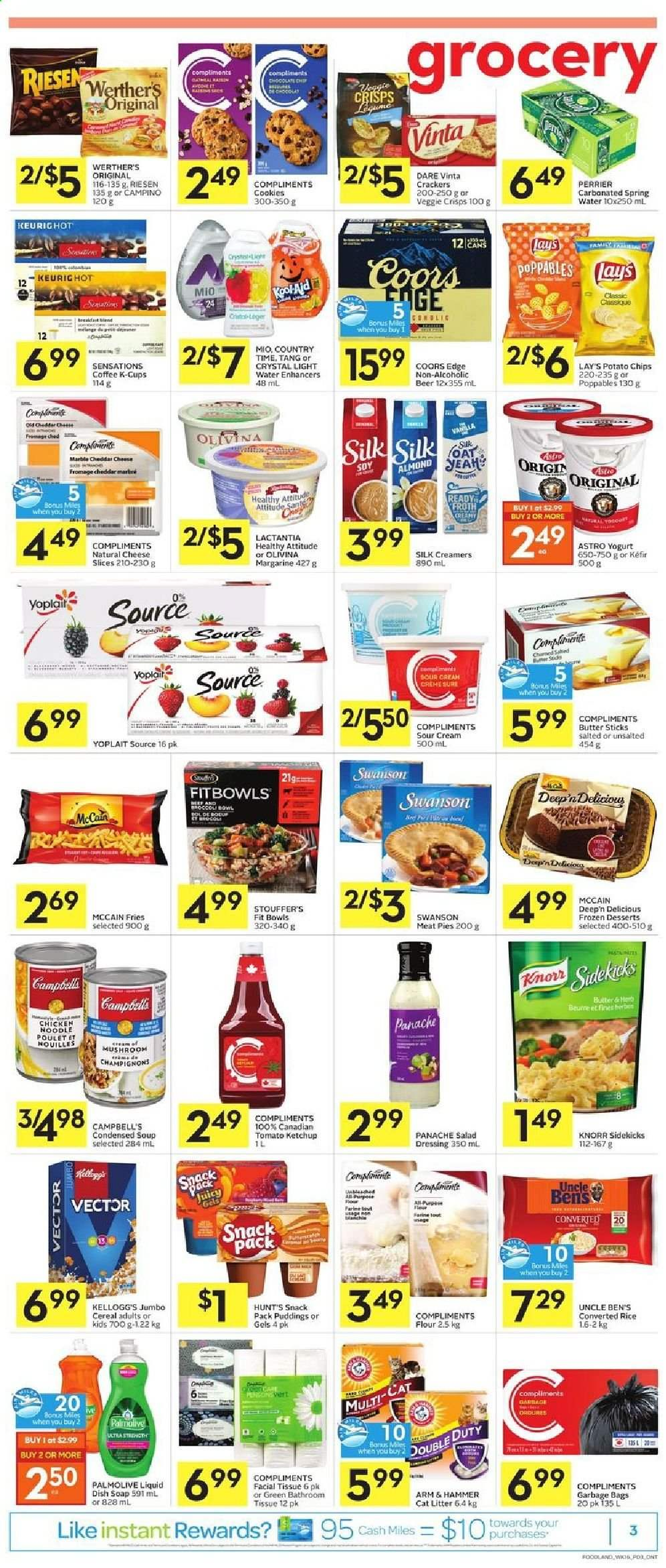 Foodland Flyer - August 13, 2020 - August 19, 2020 - Sales products - arm & hammer, bag, beer, bowl, butter, campbell's, cat litter, cereals, coffee, cookies, crackers, cream, flour, litter, margarine, mccain, rice, salad dressing, sour cream, spring water, veggie, yogurt, ketchup, potato chips, cheddar, cheese slices, chicken, noodle, chips, cheese, dressing, condensed soup, soup, mushroom, snack, hammer, cereal, lay's, knorr, salad, poulet, beurre, farine, fromage, kellogg's, marble, nouilles, palmolive, perrier. Page 5.