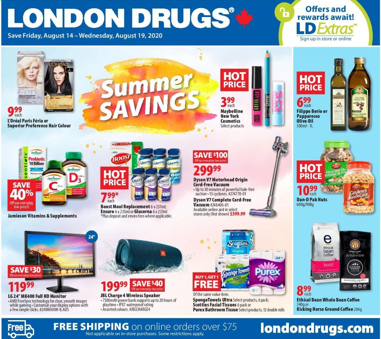 Circulaire London Drugs - 14 Août 2020 - 19 Août 2020 - Produits soldés - absolute, amd, cashews, coffee, facial tissues, full hd, l'oréal, lg, mah, maybelline, monitor, speaker, towel, vacuum, jbl, olive oil, organic, sponge, smooth, cosmetics, wireless, glucerna, dyson, nuts, jamieson. Page 1.