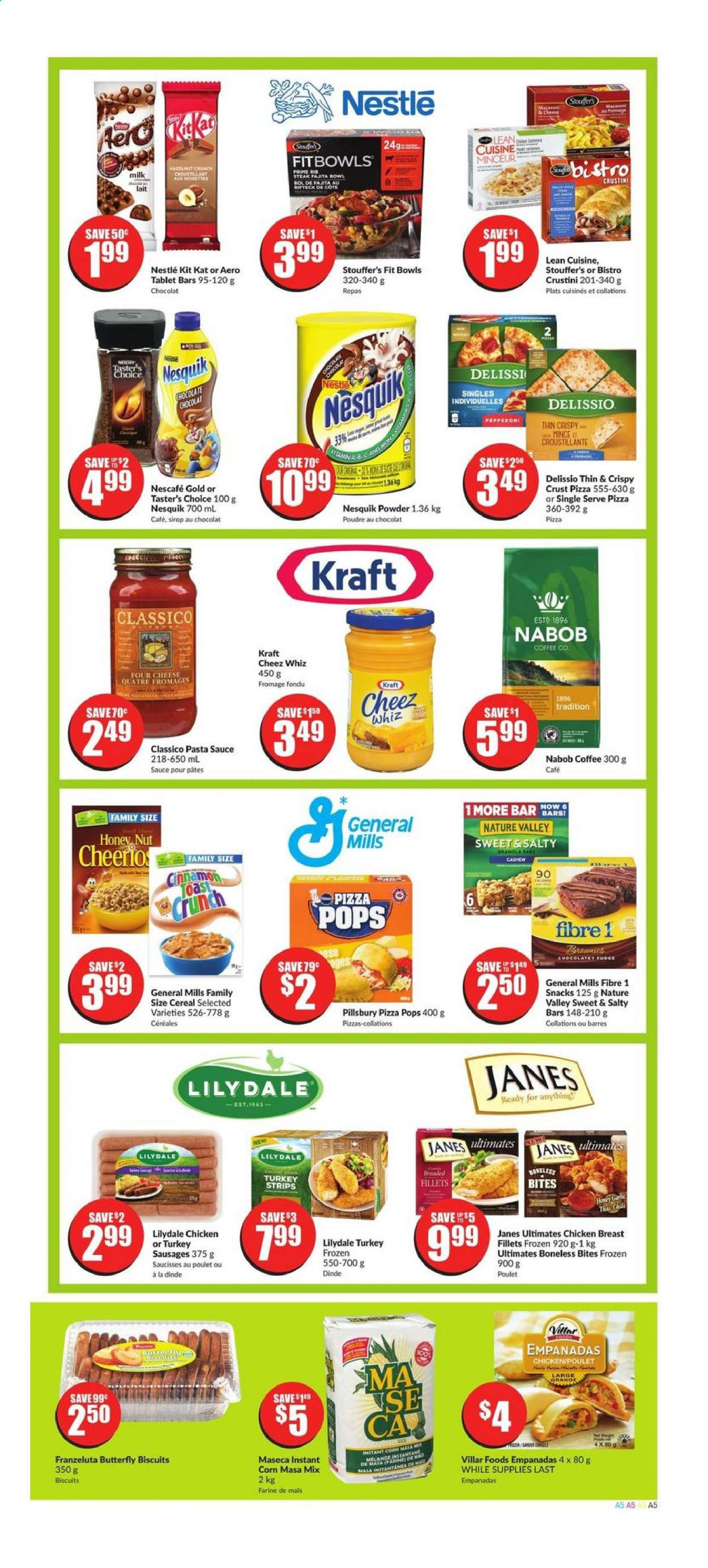 FreshCo. Flyer - August 20, 2020 - August 26, 2020 - Sales products - biscuits, bowl, cereals, coffee, corn, milk, nestlé, sausages, tablet, turkey, honey, pet, pizza, chicken, chicken breast, pasta sauce, chocolate, steak, cheese, snack, cereal, pasta, sauce, poulet, chocolat, lait, café, dinde, biscuit, farine, four, fromage, sirop, poudre, nescafé, saucisse, pâtes, snacks. Page 5.