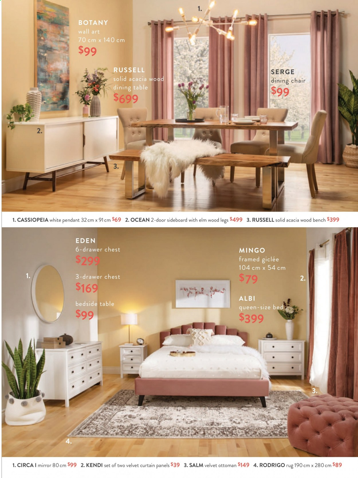 Structube Flyer - Sales products - bed, bedside table, Bench, dining table, door, drawer, mirror, rug, sideboard, solid, table, chair, pendant, ottoman. Page 5.