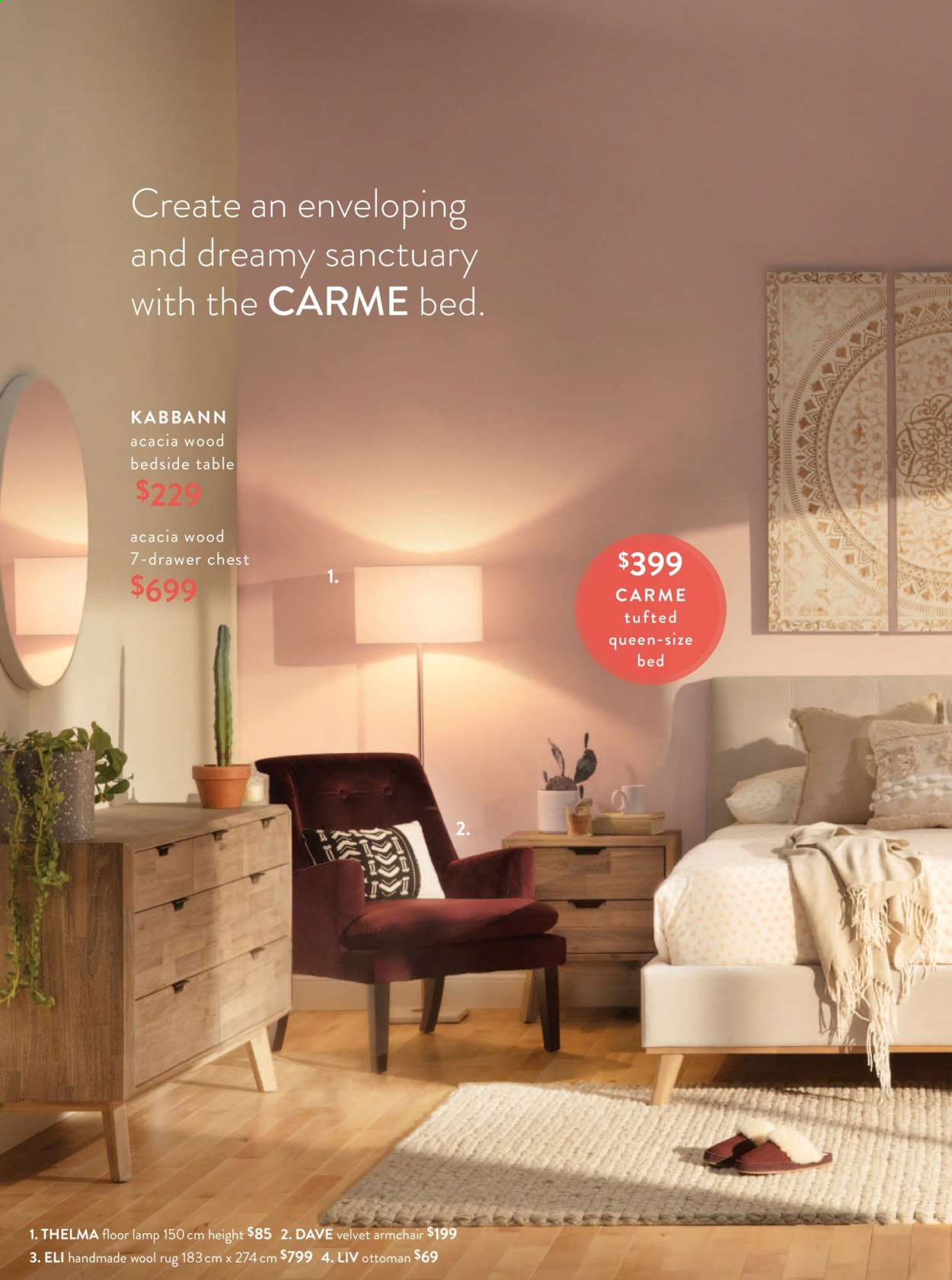 Structube Flyer - Sales products - arm chair, bed, bedside table, drawer, lamp, rug, table, wool rug, ottoman. Page 6.