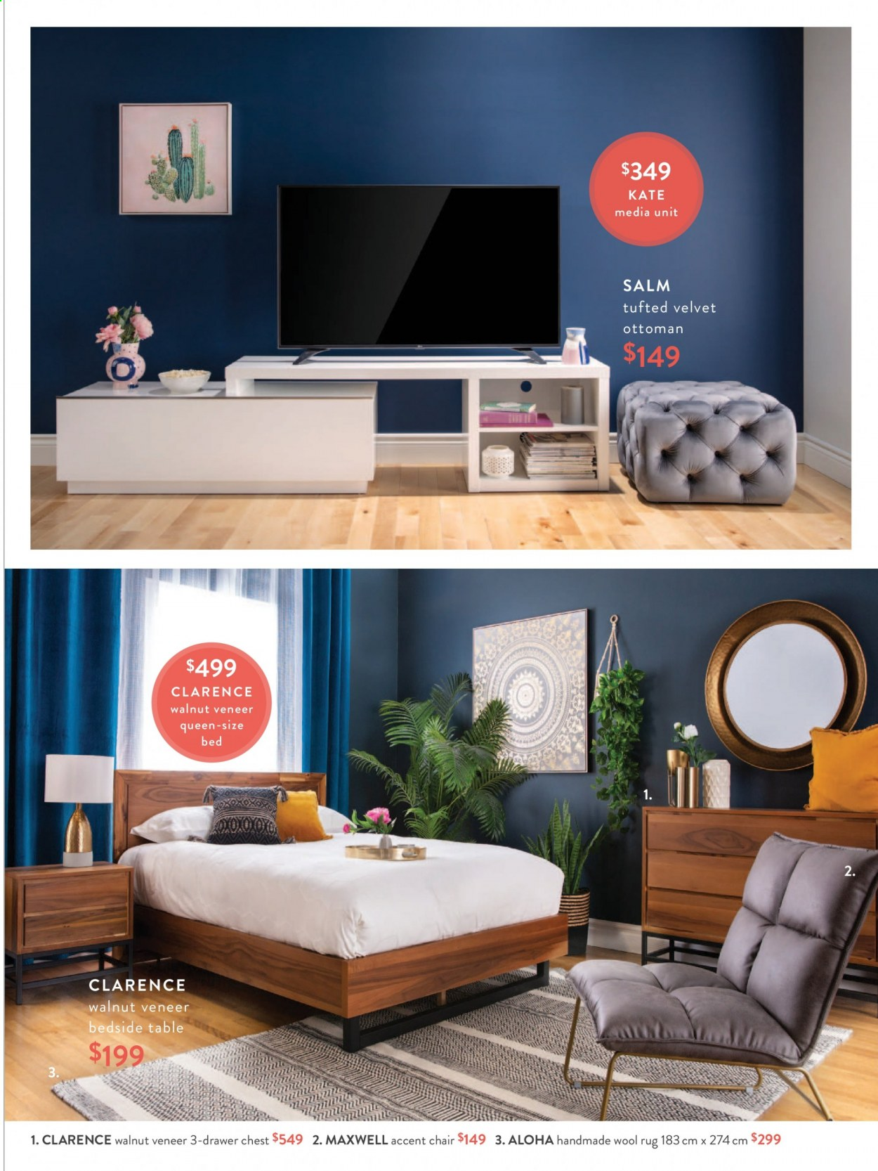 Structube Flyer - Sales products - accent chair, bed, bedside table, drawer, rug, table, wool rug, chair, ottoman. Page 15.
