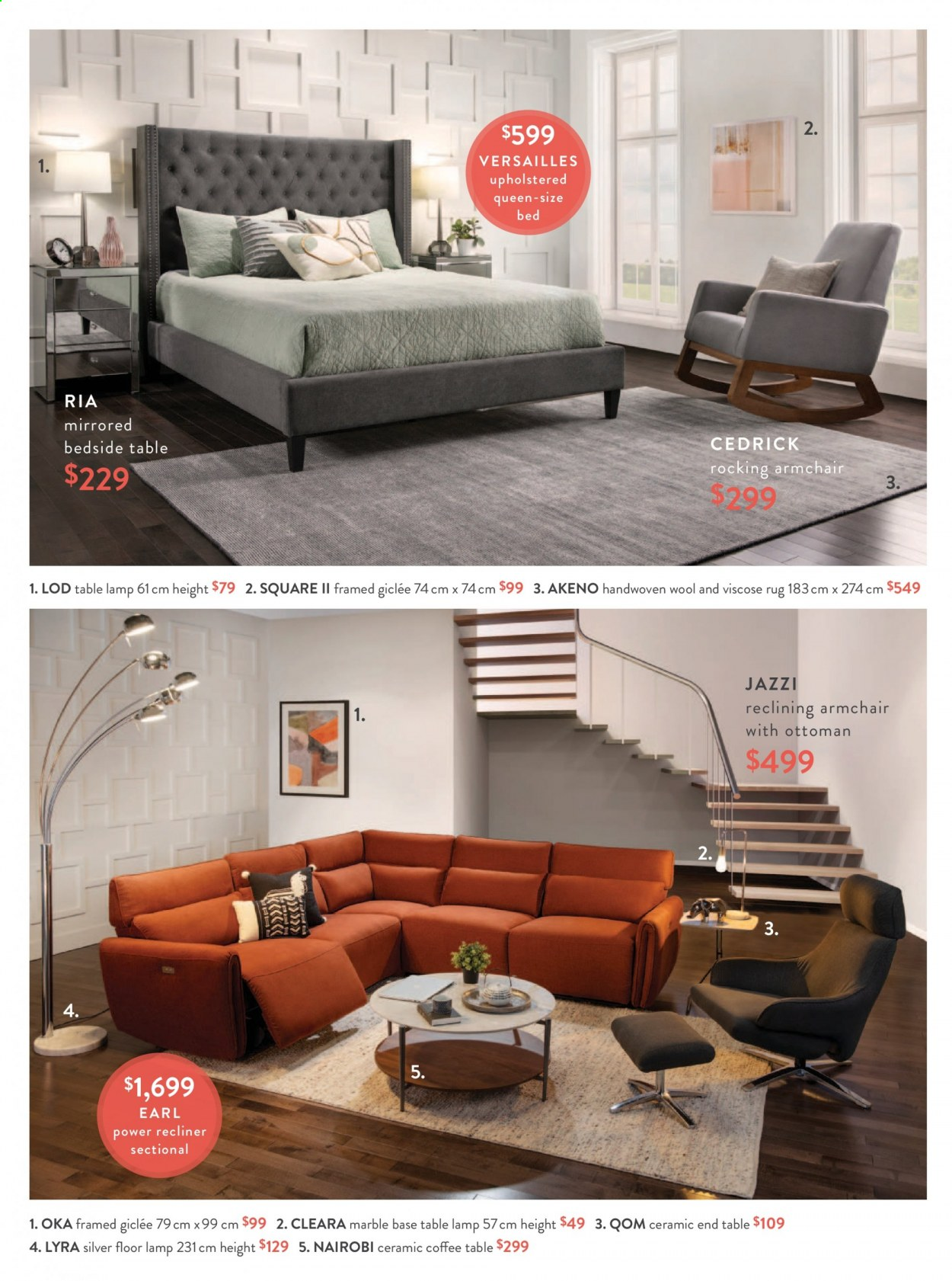 Structube Flyer - Sales products - arm chair, bed, bedside table, coffee table, cushion, end table, lamp, rug, shelves, sofa, solid, tripod, wool rug, ottoman. Page 28.