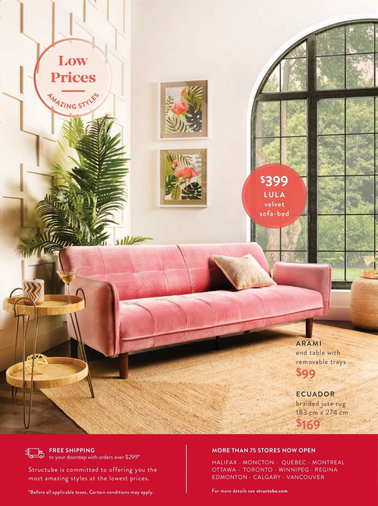 Structube Flyer - Sales products - bed, end table, rug, sofa, table. Page 48.