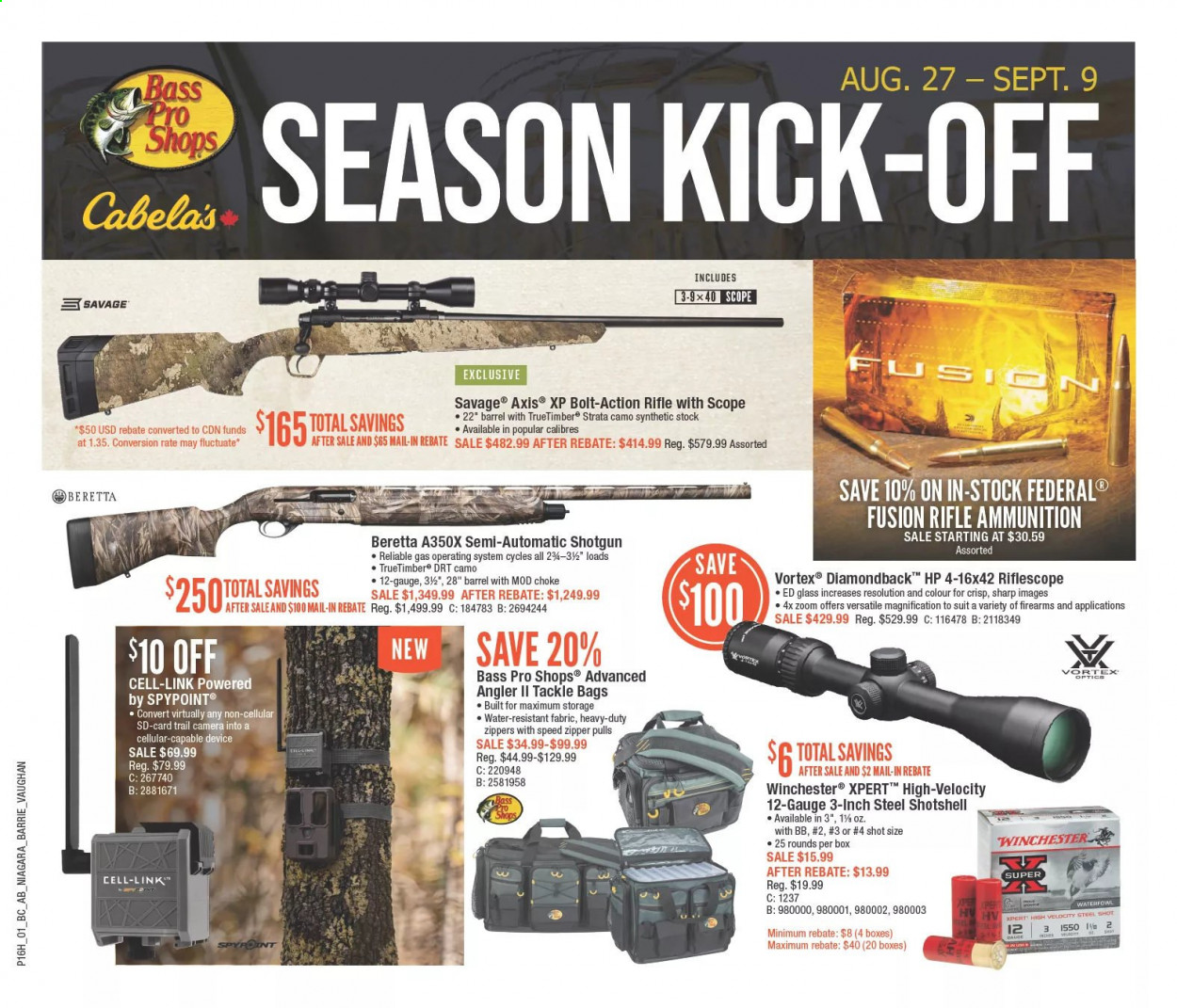 Bass Pro Shops Flyer - August 27, 2020 - September 09, 2020 - Sales products - bag, Bass Pro, camera, rifle, riflescope, Sharp, shotgun, trail cam, VORTEX, HP, optics, savage. Page 1.