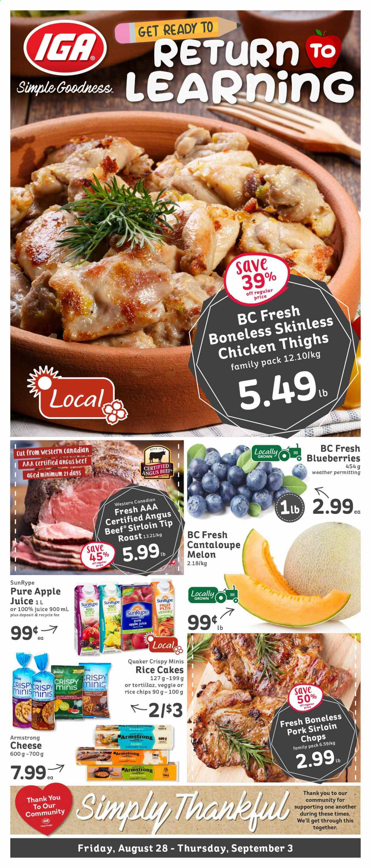 IGA Flyer - August 28, 2020 - September 03, 2020 - Sales products - apple juice, beef meat, beef sirloin, blueberries, cantaloupe, rice, veggie, havarti cheese, pork meat, chicken, chicken thighs, chips, k2, cheese, juice, melon, fruits, family pack, aaa. Page 1.