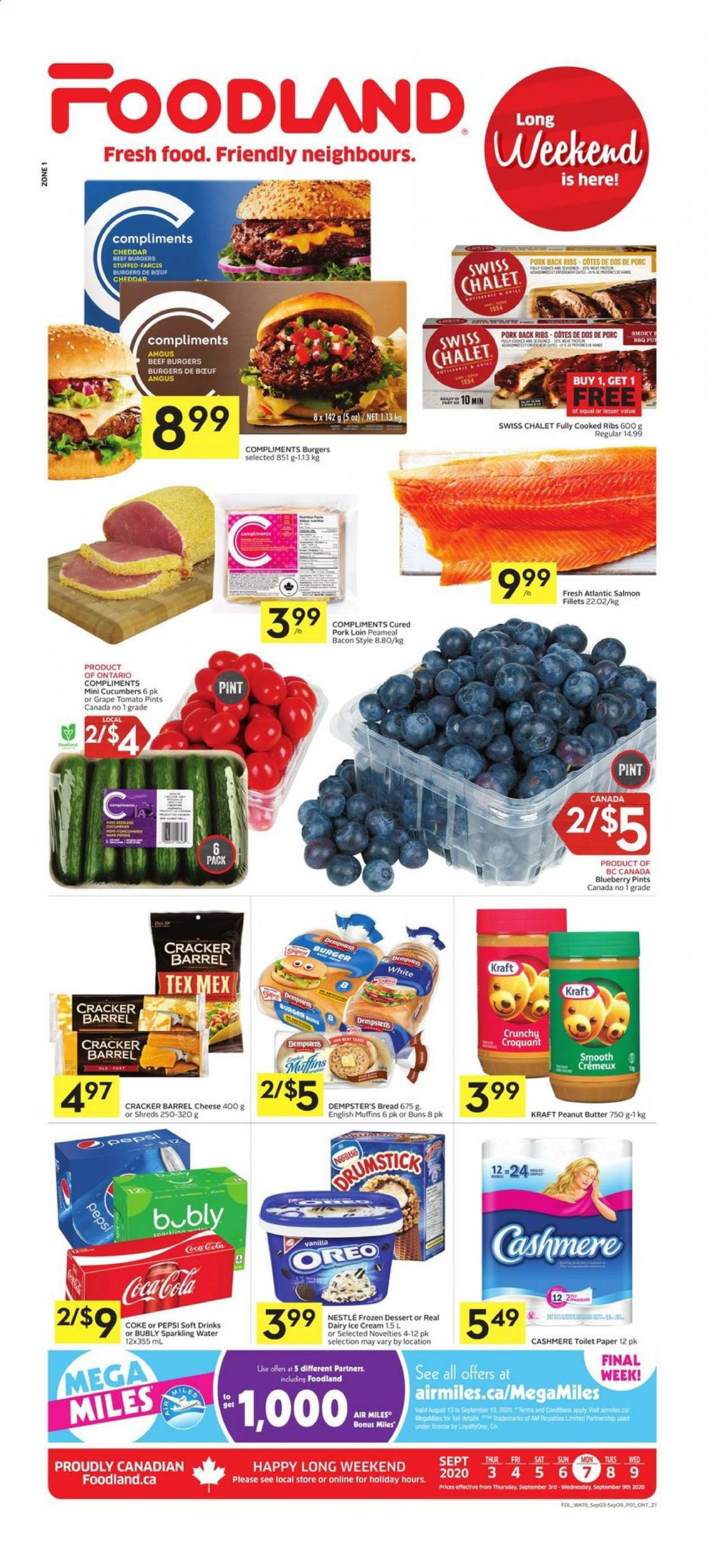 Foodland Flyer - September 03, 2020 - September 09, 2020 - Sales products - bacon, beef meat, bread, butter, coca-cola, cucumbers, english muffins, frozen, grapes, muffins, nestlé, salmon, toilet, ice cream, pork loin, pork meat, cheddar, peanut butter, peanuts, pepsi, oreo, toilet paper, cheese, dessert, sparkling water, smooth, cracker, ribs, porc, gril, tomato, burger. Page 1.