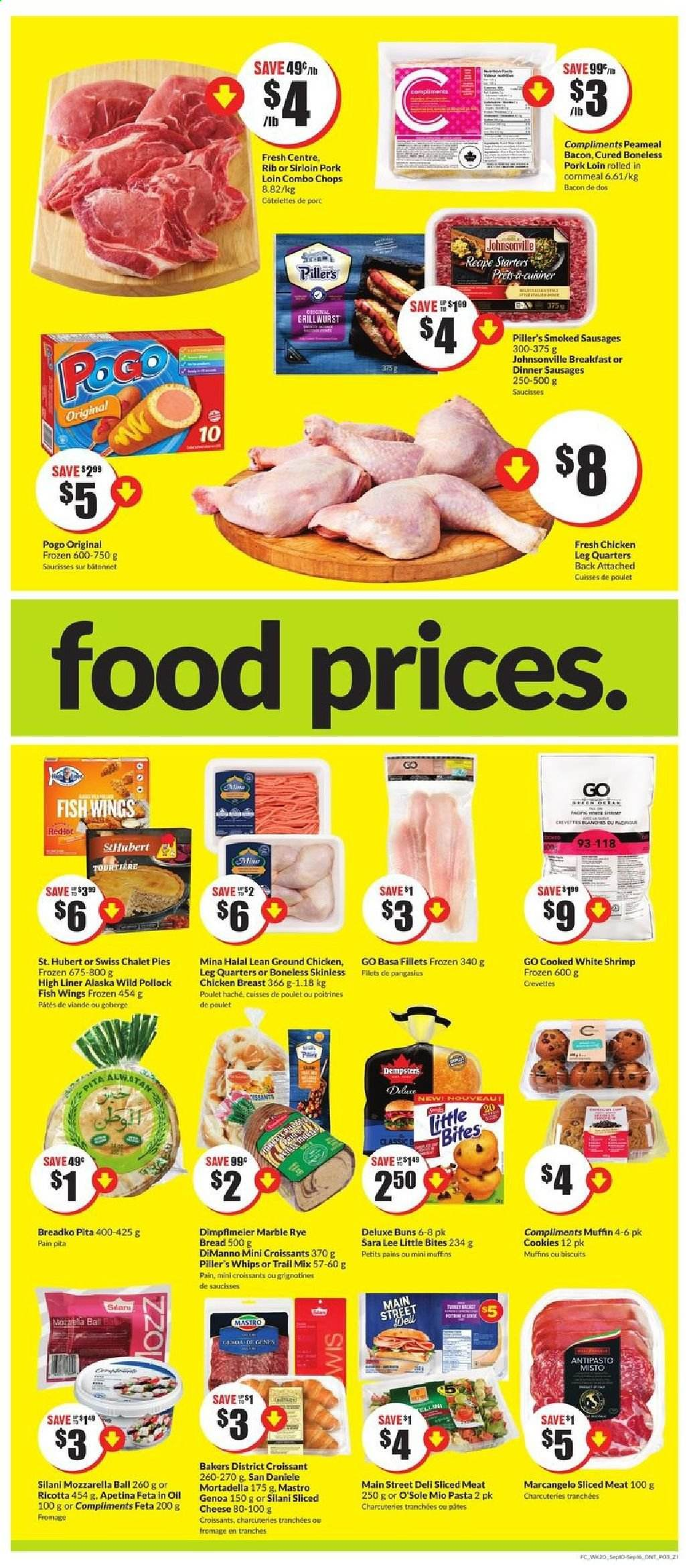FreshCo. Flyer - September 10, 2020 - September 16, 2020 - Sales products - bacon, biscuits, bread, cookies, croissants, dell, fêta, frozen, ground chicken, mortadella, mozzarella, muffins, ricotta, sausages, shrimp, sliced cheese, sole, pita, pollock, pork loin, pork meat, chicken, chicken breast, pangasius, cheese, pasta, lee, poulet, viande, porc, croissant, biscuit, crevette, fromage, marble, saucisse, pâtes, ball, bites, wings, meat, fish, oil, shrimps. Page 3.