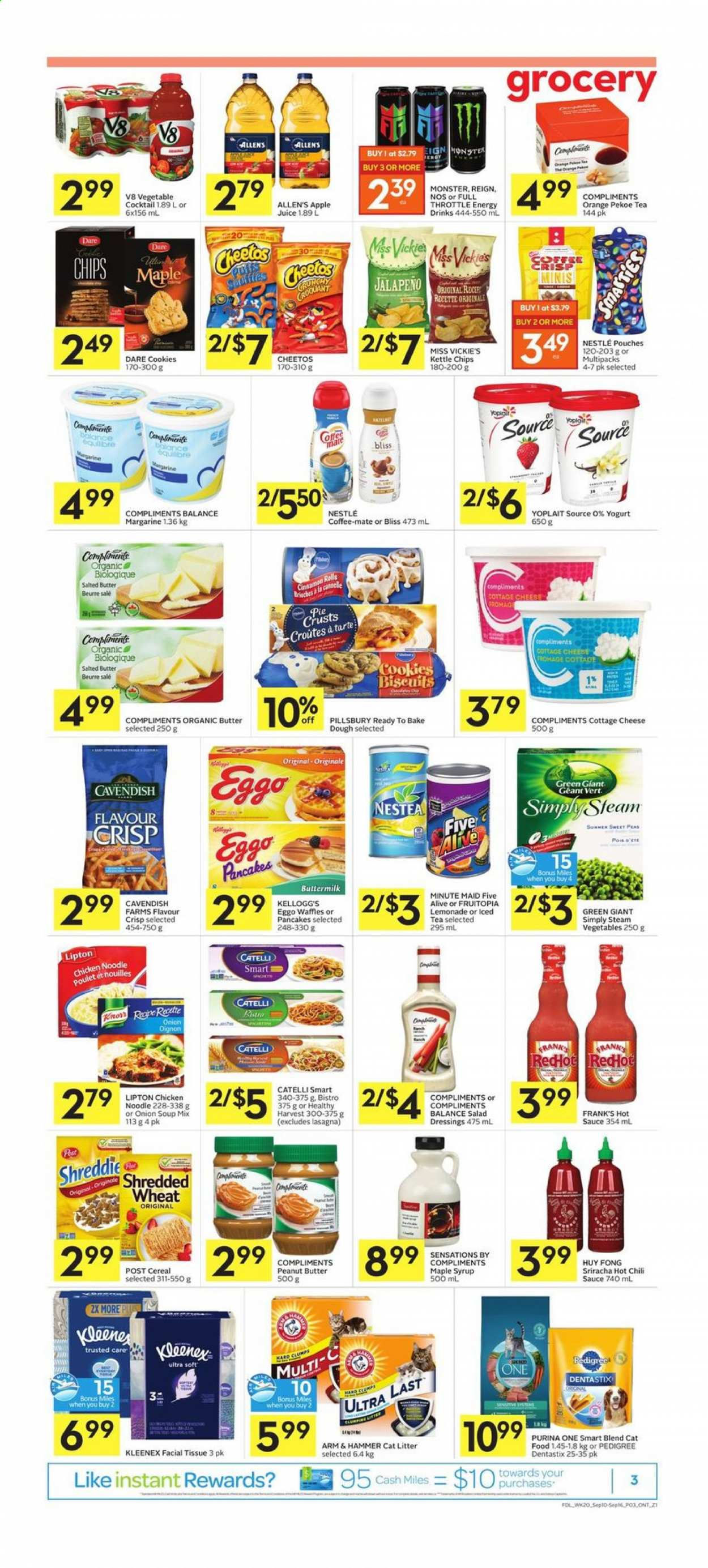 Foodland Flyer - September 10, 2020 - September 16, 2020 - Sales products - animal food, apple juice, arm & hammer, butter, buttermilk, cat food, cat litter, cereals, coffee-mate, cookies, cottage cheese, kleenex, lemonade, litter, maple syrup, margarine, mate, nestlé, sriracha, tea, yogurt, hot sauce, pie crust, purina, cheetos, chicken, pancakes, peanut butter, peanuts, peas, noodle, onion soup, onion, organic, chili sauce, chips, cheese, juice, pie, soup mix, soup, vegetable, iced tea, hammer, cereal, monster, lipton, salad, sauce, poulet, tarte, beurre, cannelle, fromage, kellogg's, nouilles, orange, pedigree, full throttle, vegetables, jalapeno, dentastix, kettle, steam, syrup, balance. Page 3.