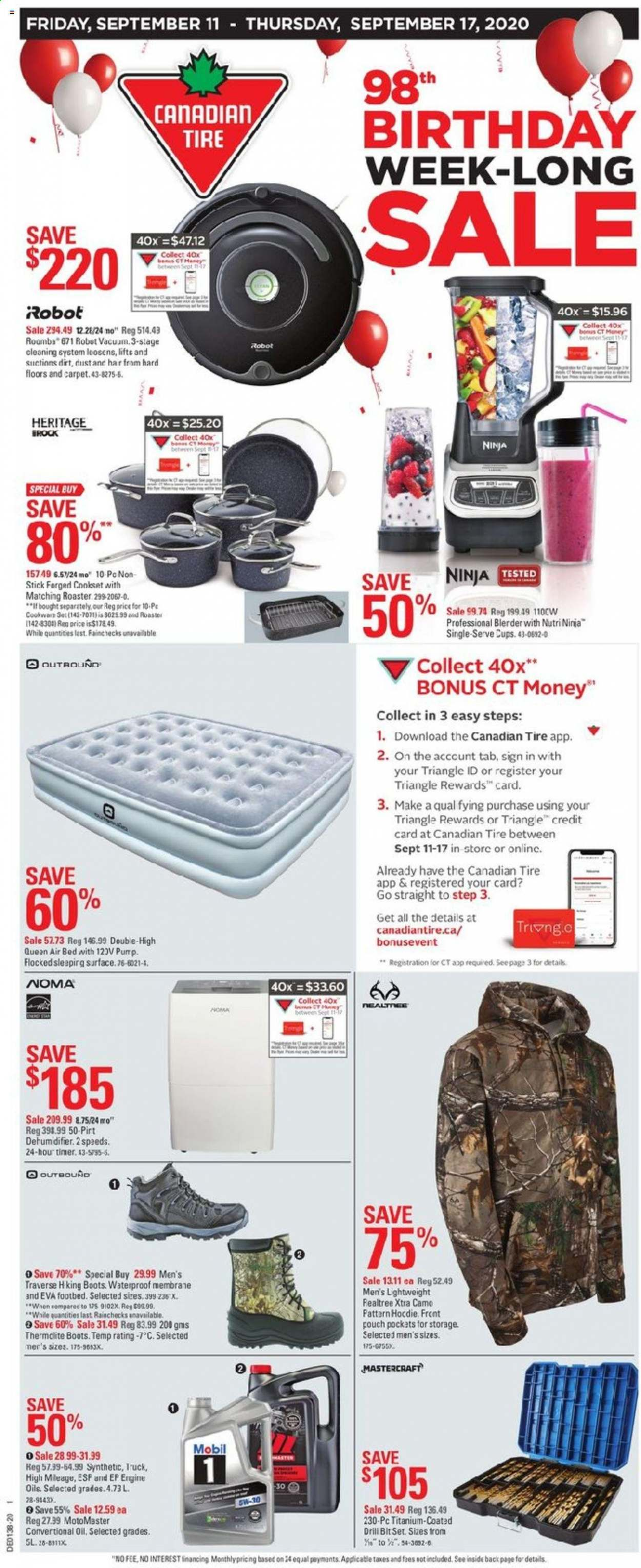Canadian Tire Flyer - September 11, 2020 - September 17, 2020 - Sales products - bed, boots, drill, mobil, robot, surface, timer, ninja, carpet, triangle, pump, bones, oil, waterproof. Page 1.
