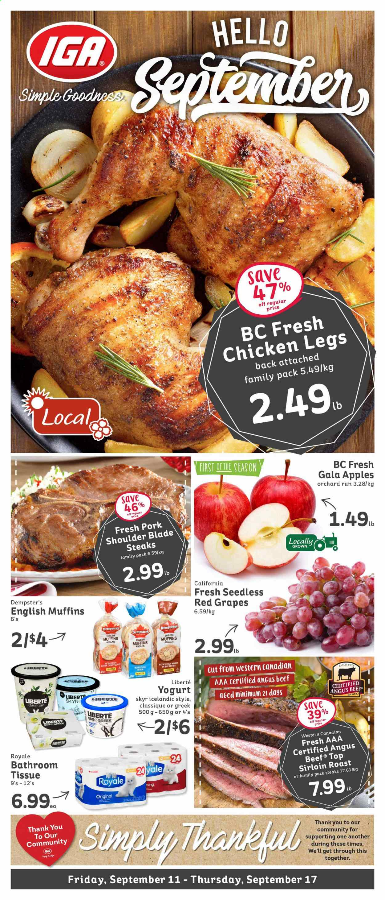 IGA Flyer - September 11, 2020 - September 17, 2020 - Sales products - beef meat, english muffins, gala apples, grapes, muffins, yogurt, pork meat, pork shoulder, chicken, chicken legs, blé, croustillant, family pack, aaa, blade, roast. Page 1.