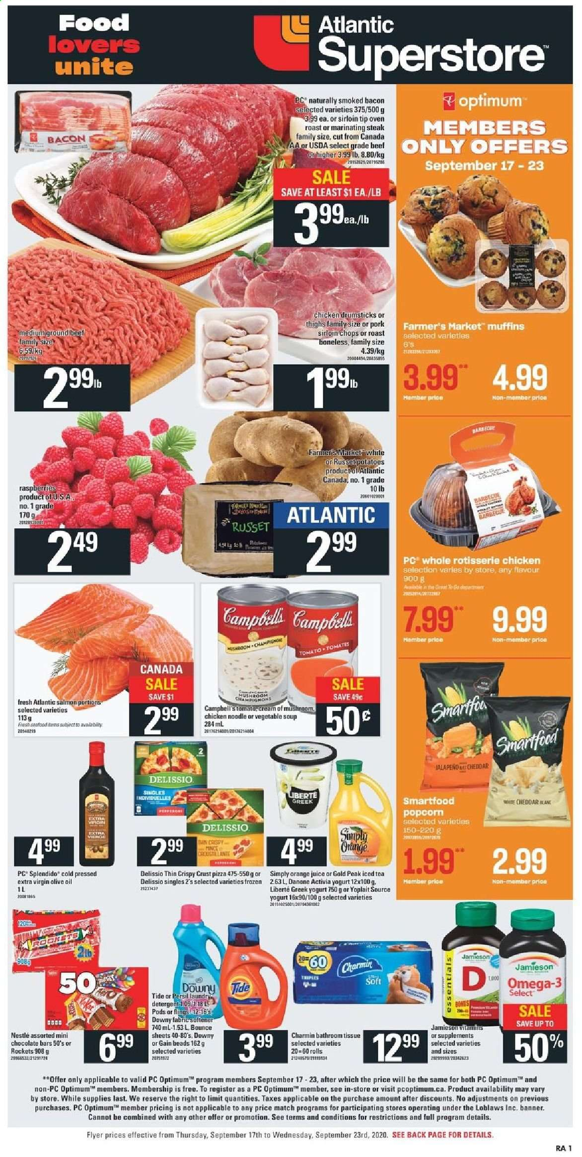 Atlantic Superstore Flyer - September 17, 2020 - September 23, 2020 - Sales products - bacon, beef meat, bounce, campbell's, detergent, downy, extra virgin olive oil, gain, greek yogurt, muffins, nestlé, russet potatoes, salmon, tea, tide, vegetable soup, yogurt, pizza, pork meat, potatoes, cheddar, chicken, chicken drumsticks, persil, noodle, olive oil, omega-3, oven, orange juice, chocolate, steak, juice, soup, vegetable, mushroom, iced tea, softener, danone, tomates, champignon, activia, barbecue, jamieson, orange, essentials, rolls, jalapeno, laundry detergent, roast, tomato. Page 1.