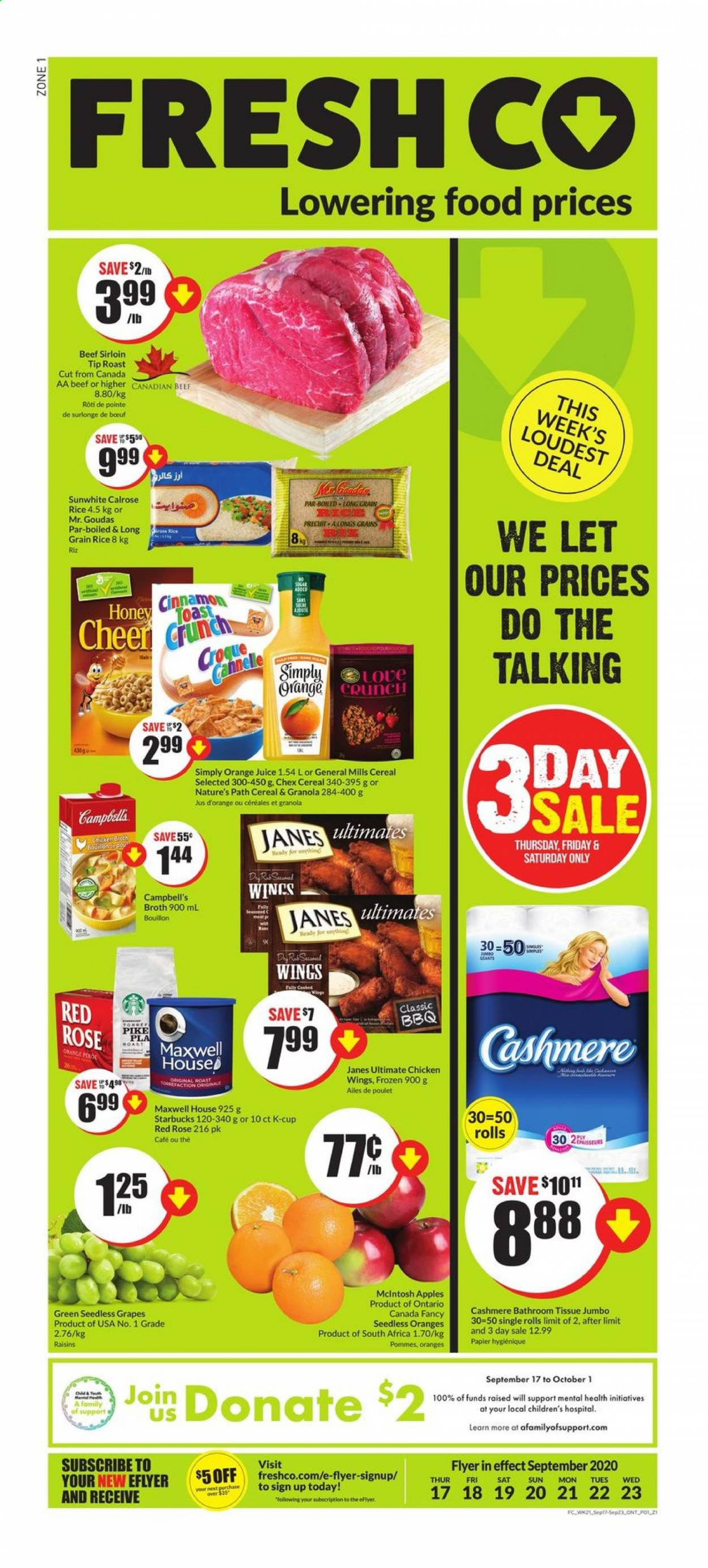 FreshCo. Flyer - September 17, 2020 - September 23, 2020 - Sales products - beef meat, beef sirloin, bouillon, campbell's, cereals, cup, frozen, granola, grapes, maxwell house, mclntosh apples, raisins, rice, seedless grapes, starbucks, honey, pike, chicken, orange juice, oranges, juice, cereal, poulet, pommes, bœuf, jus d'orange, papier, riz, jus, wings, rolls, roast, rosé. Page 1.