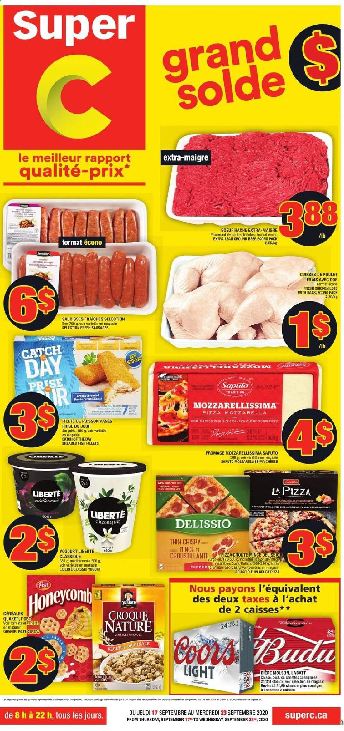 Super C Flyer - September 17, 2020 - September 23, 2020 - Sales products - beef meat, cereals, fish fillets, granola, ground beef, sausages, pizza, chicken, chicken legs, cheese, Coors, fish. Page 1.