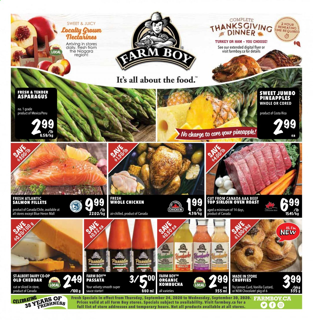 Farm Boy Flyer - September 24, 2020 - September 30, 2020 - Sales products - asparagus, beef meat, custard, nectarines, salmon, turkey, whole chicken, ham, pineapple, cheddar, chicken, oven, organic, chocolate, smooth, lemon curd, sauce, aaa, pineapples, roast, lemon. Page 1.